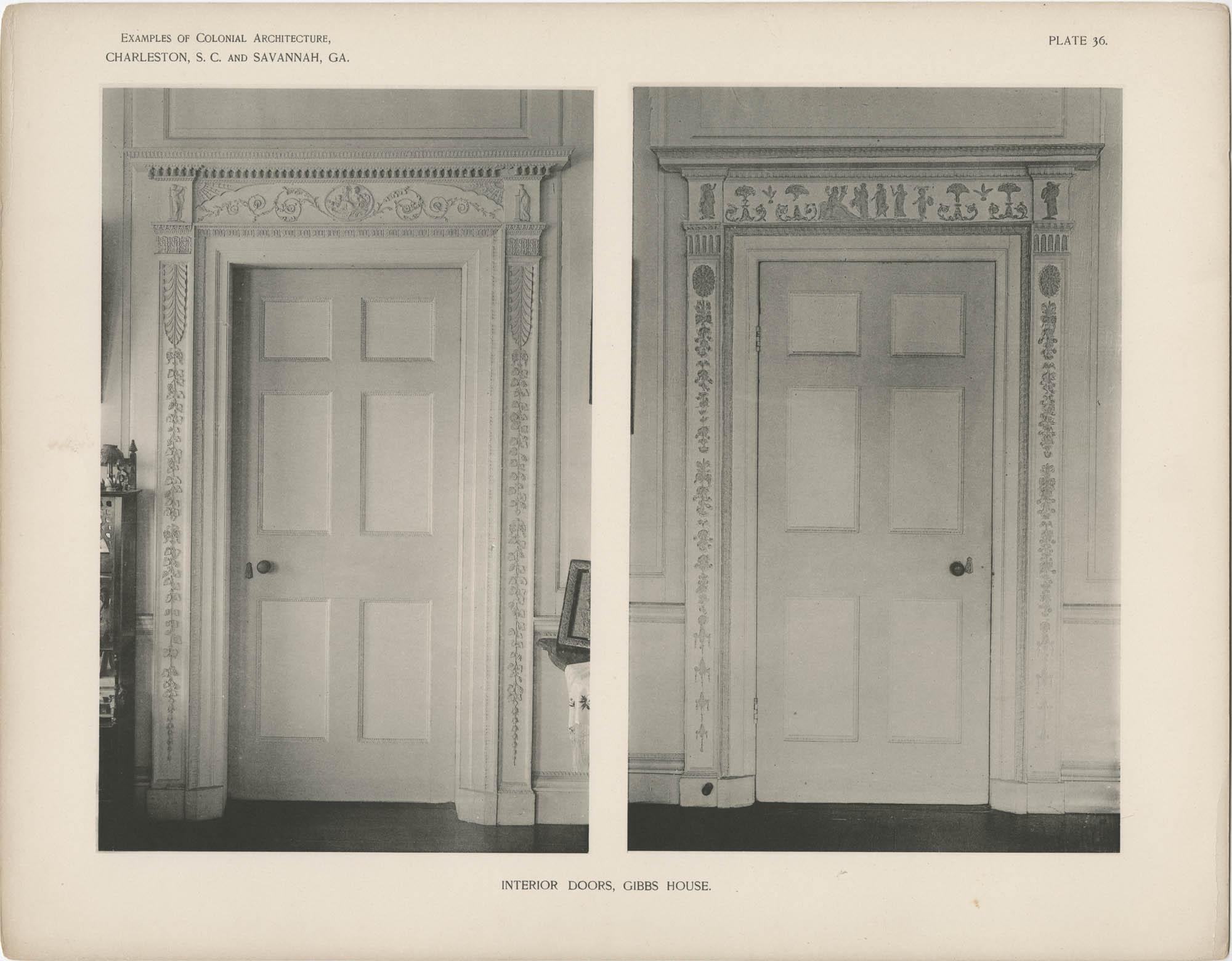Plate 36: Interior Doors, Gibbs [sic] House