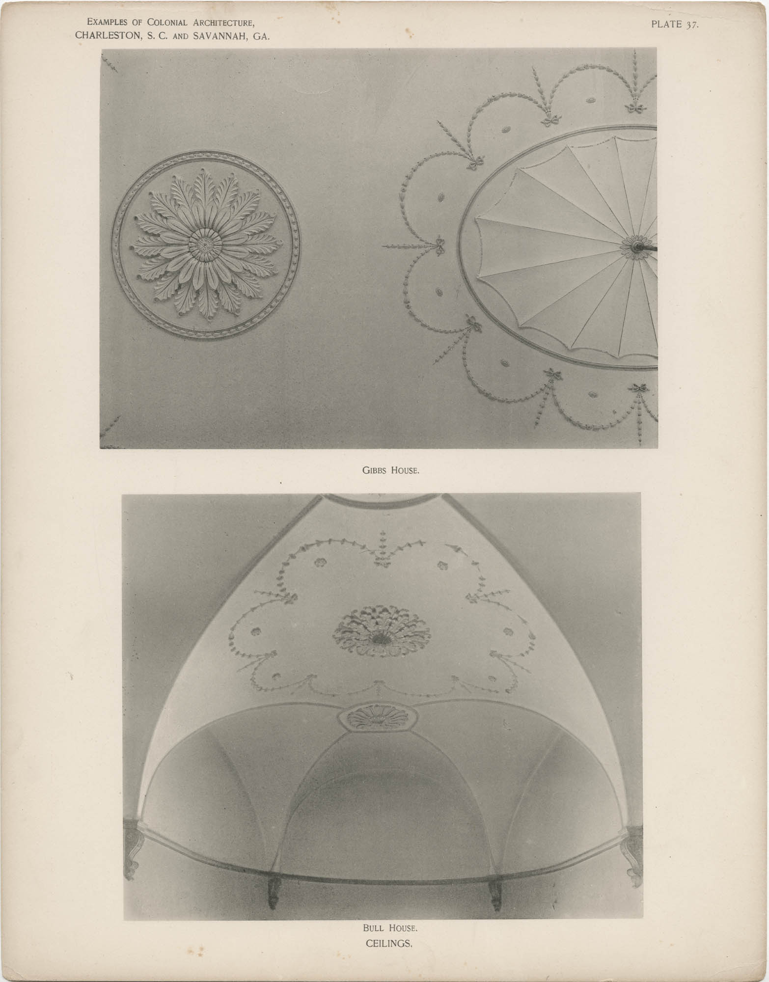 Plate 37: Ceilings, Gibbs [sic] and Bull Houses