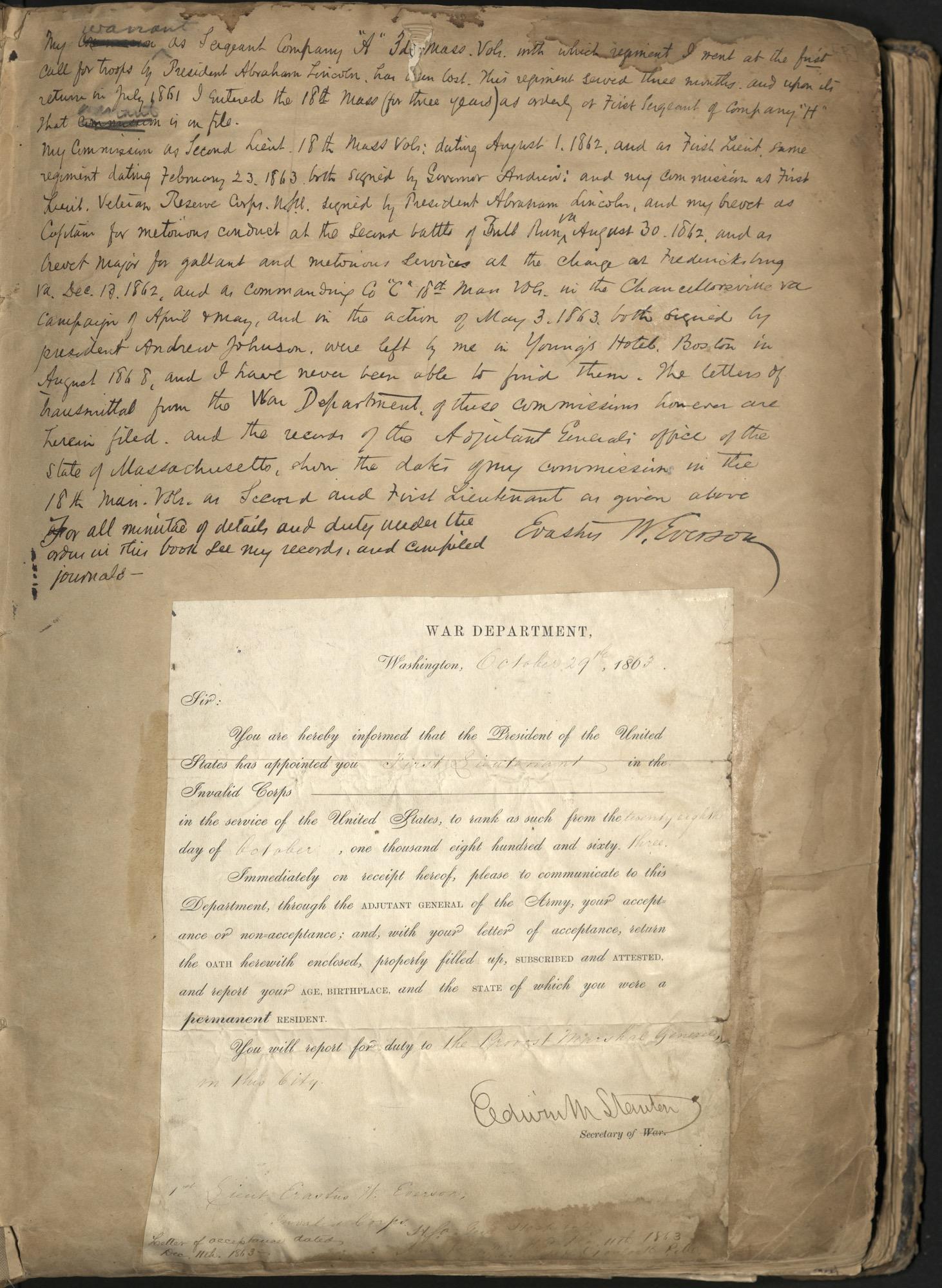 Erastus Everson Diary 1861-1893, page 1