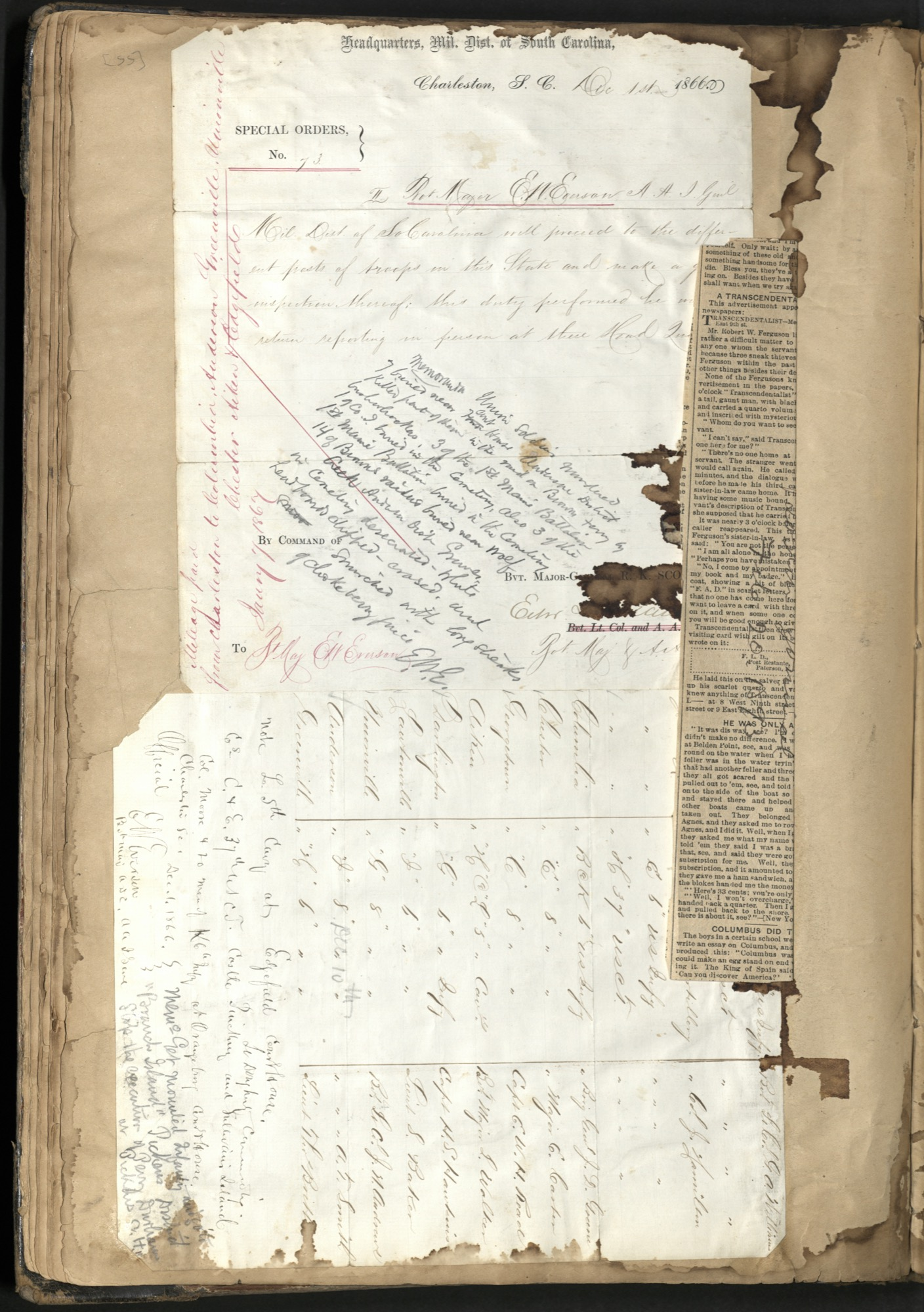 Erastus Everson Diary 1861-1893, page 54