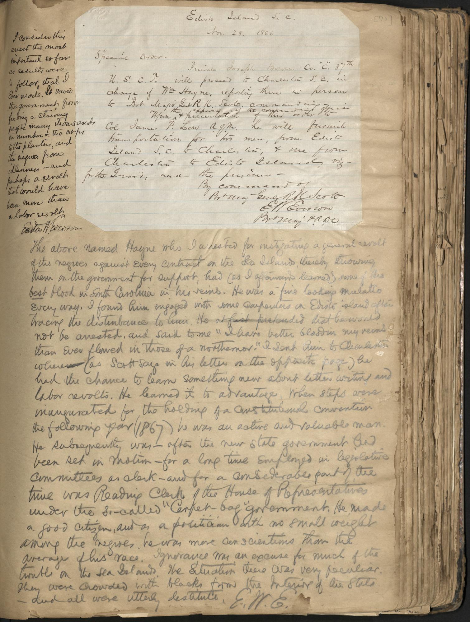 Erastus Everson Diary 1861-1893, page 69