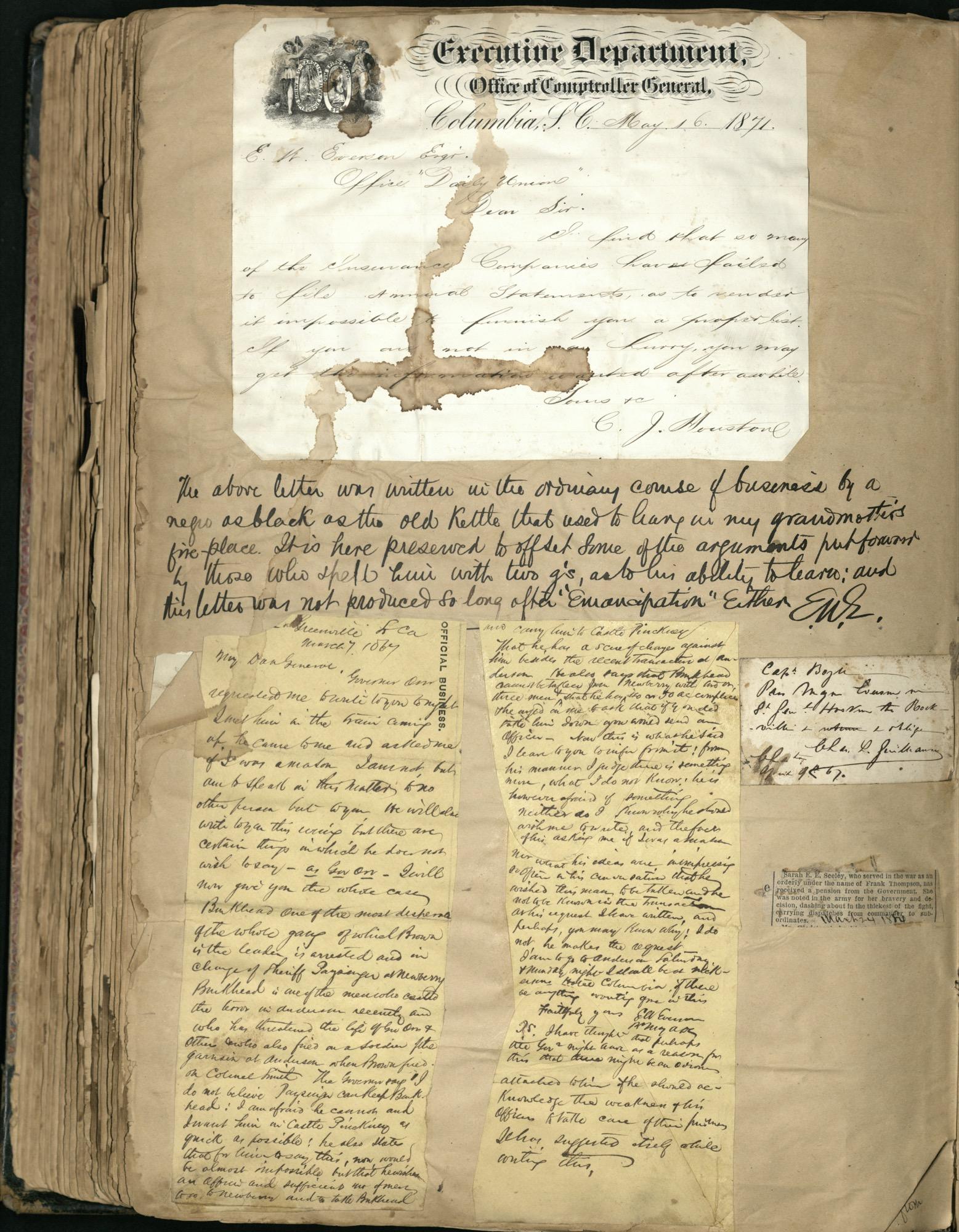 Erastus Everson Diary 1861-1893, page 254