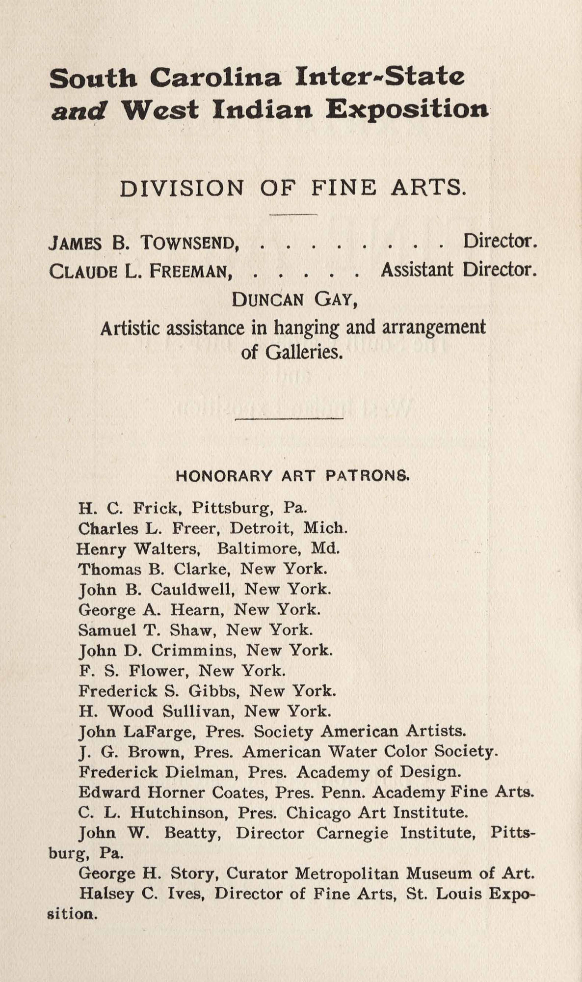 Fine Arts Board and Honorary Patrons