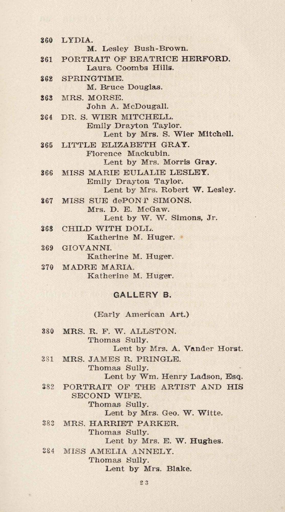 Catalogue, 360-384