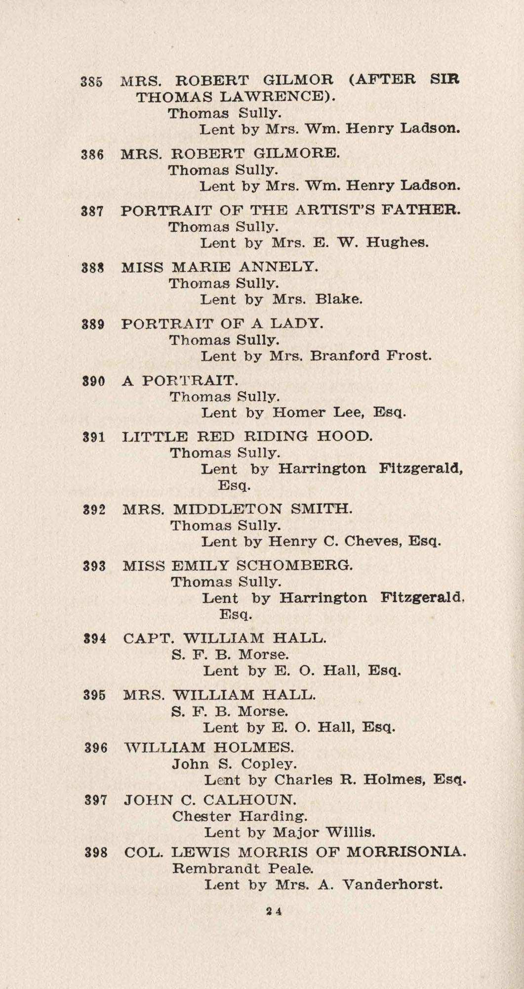 Catalogue, 385-398