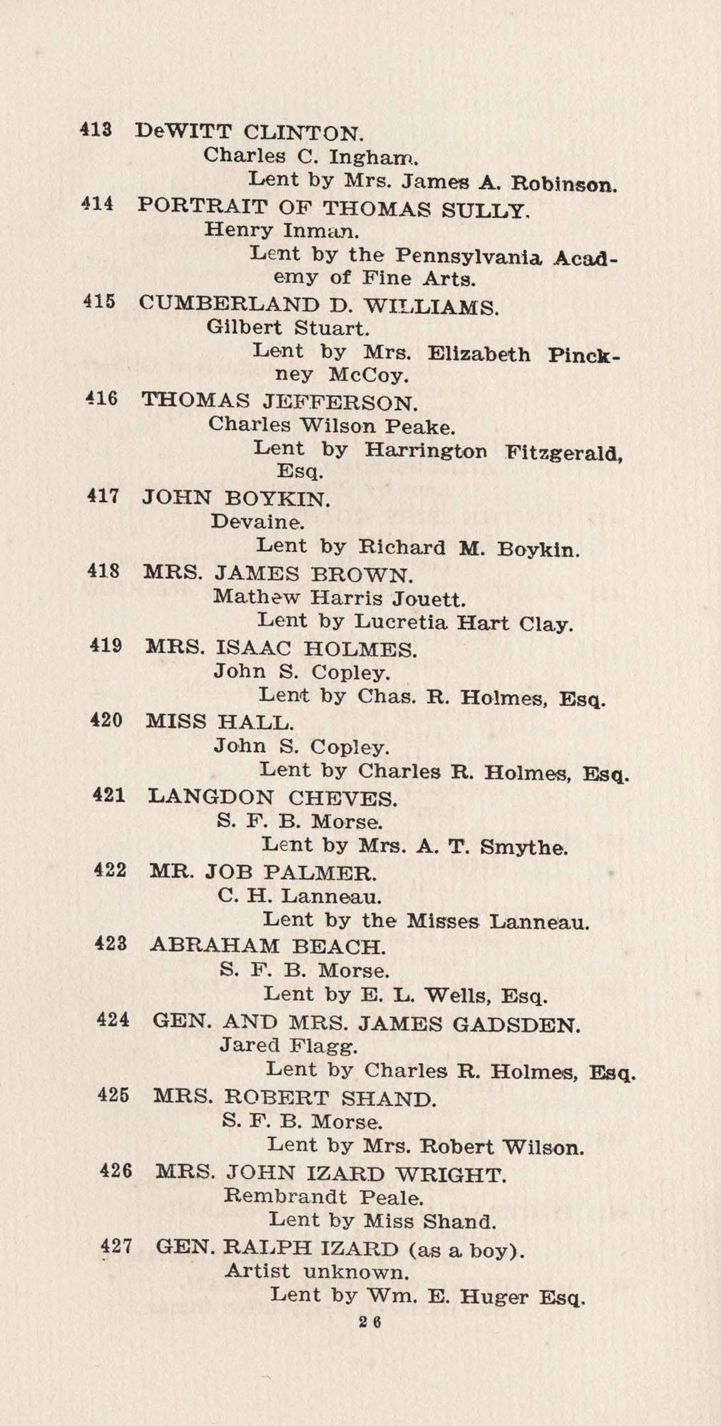 Catalogue, 413-427