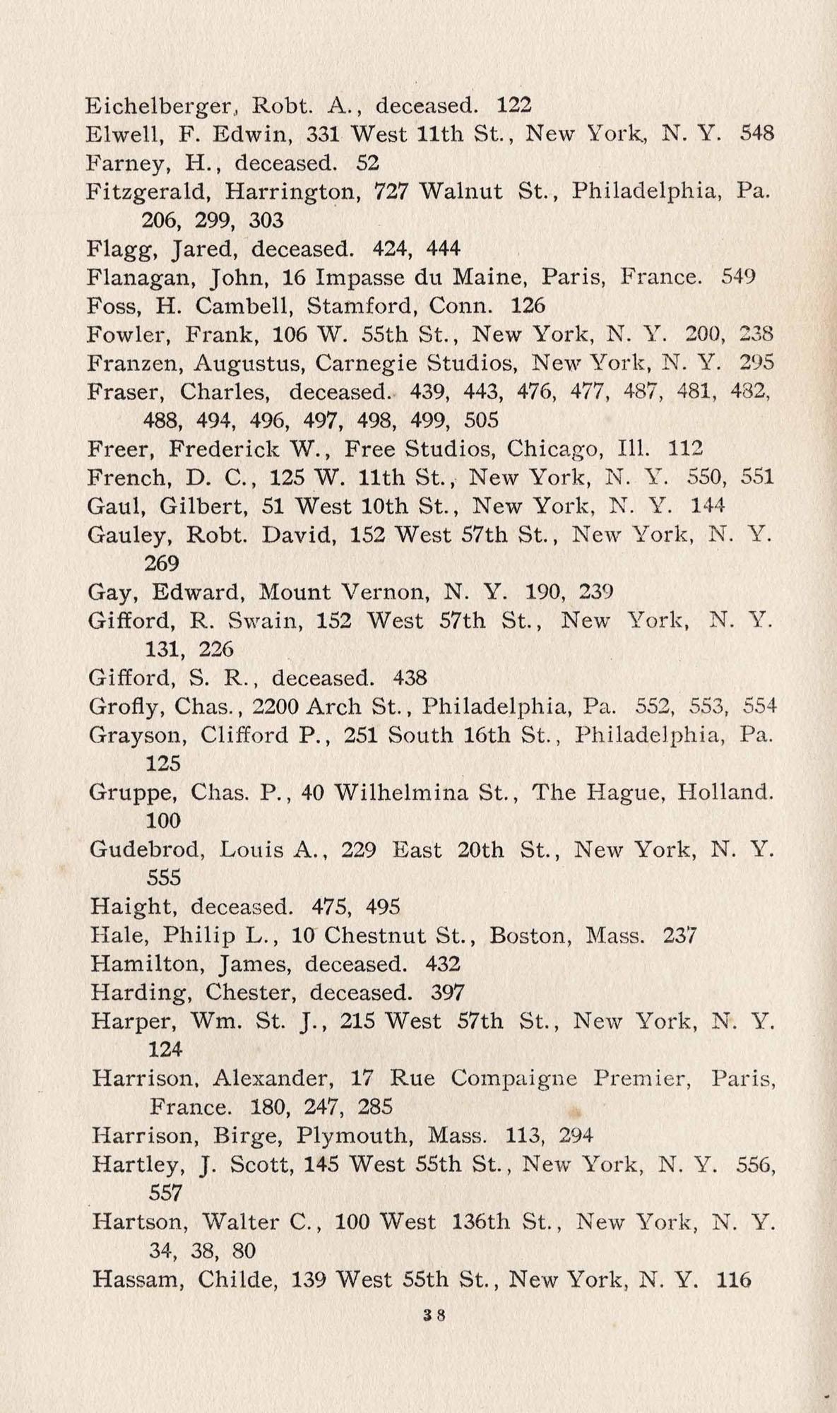 Names of Artists, E-H