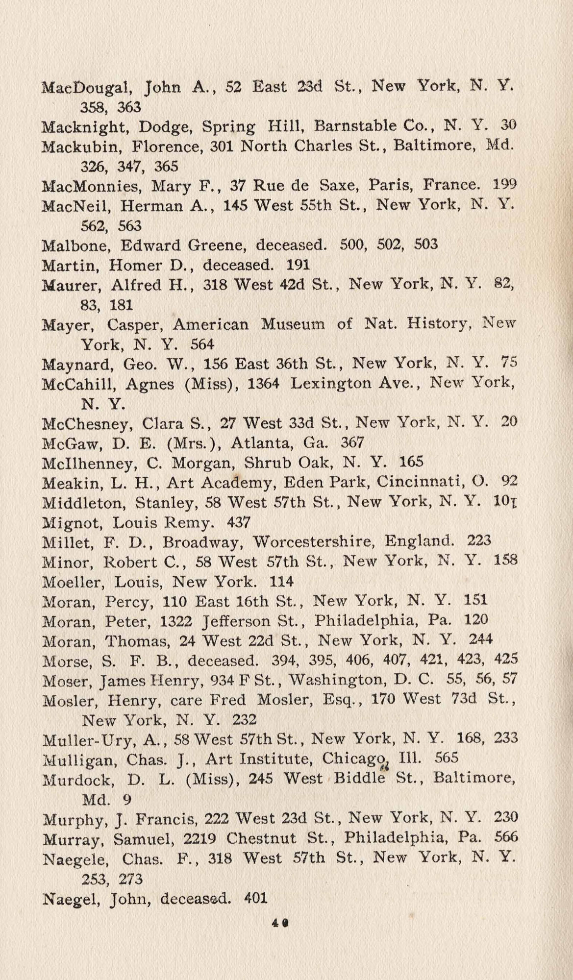Names of Artists, M-N