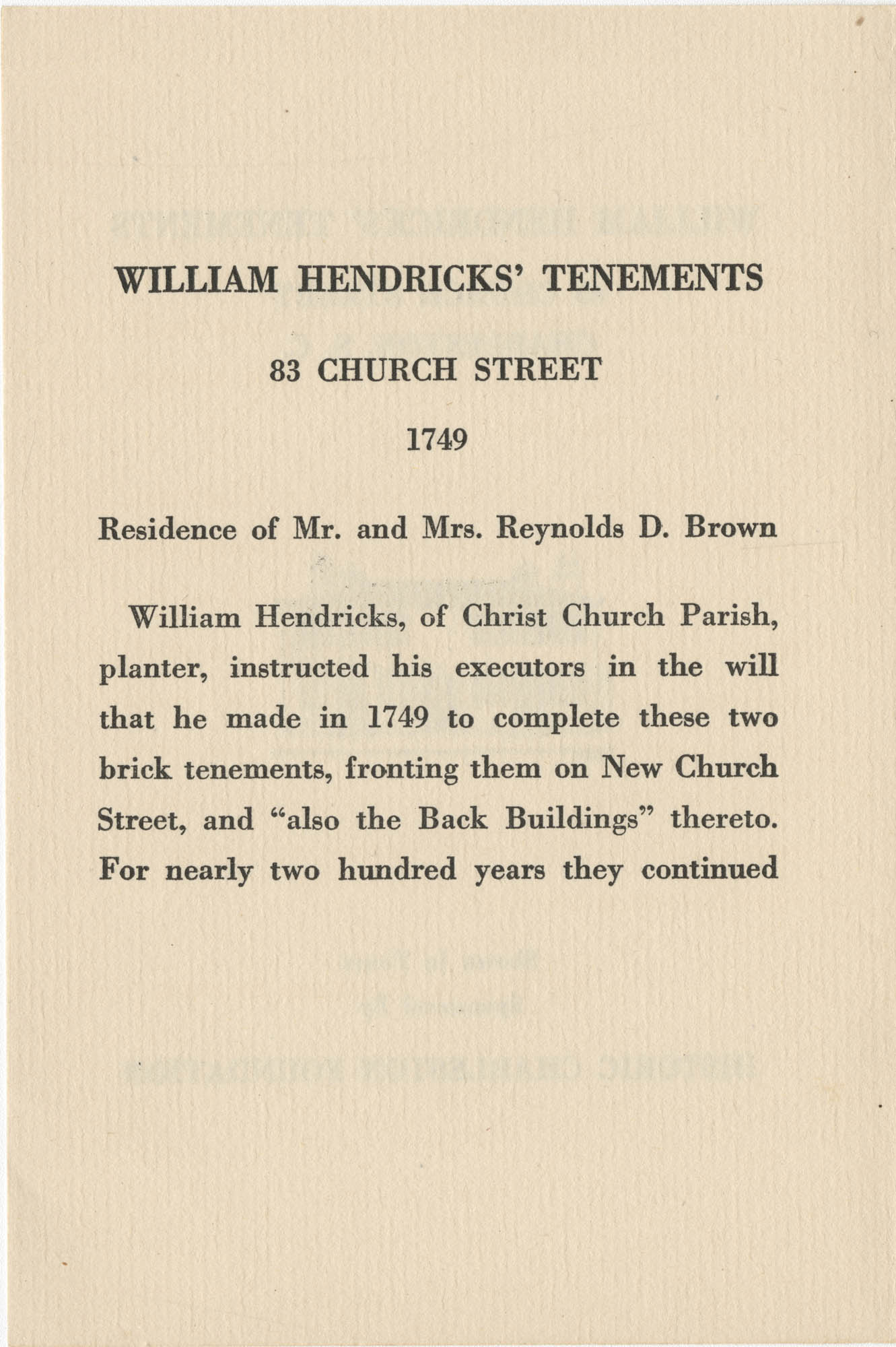 William Hendricks' Tenements Page 1