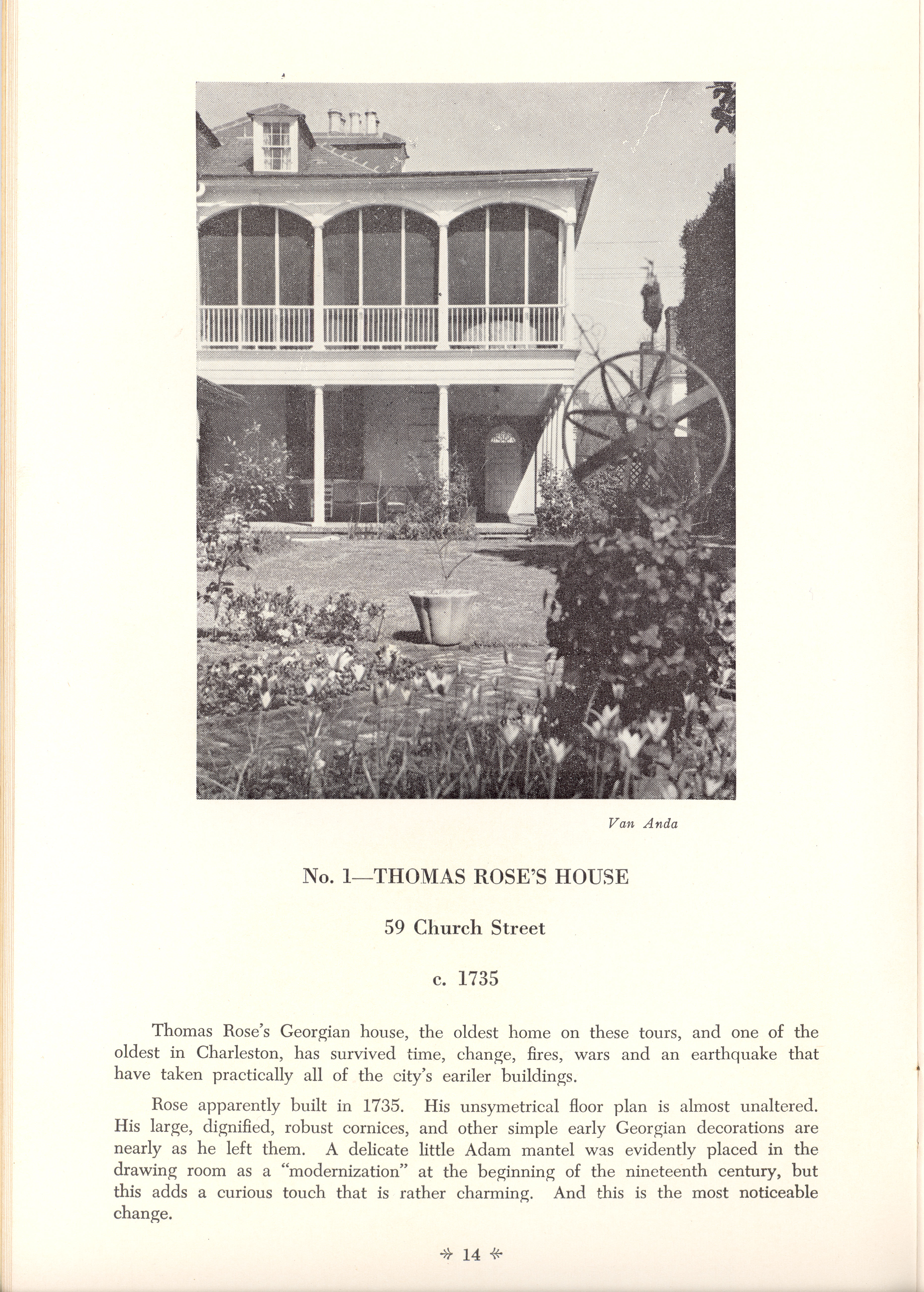 Page 14:  No. 1 - Thomas Rose's House, 59 Church Street, c. 1735