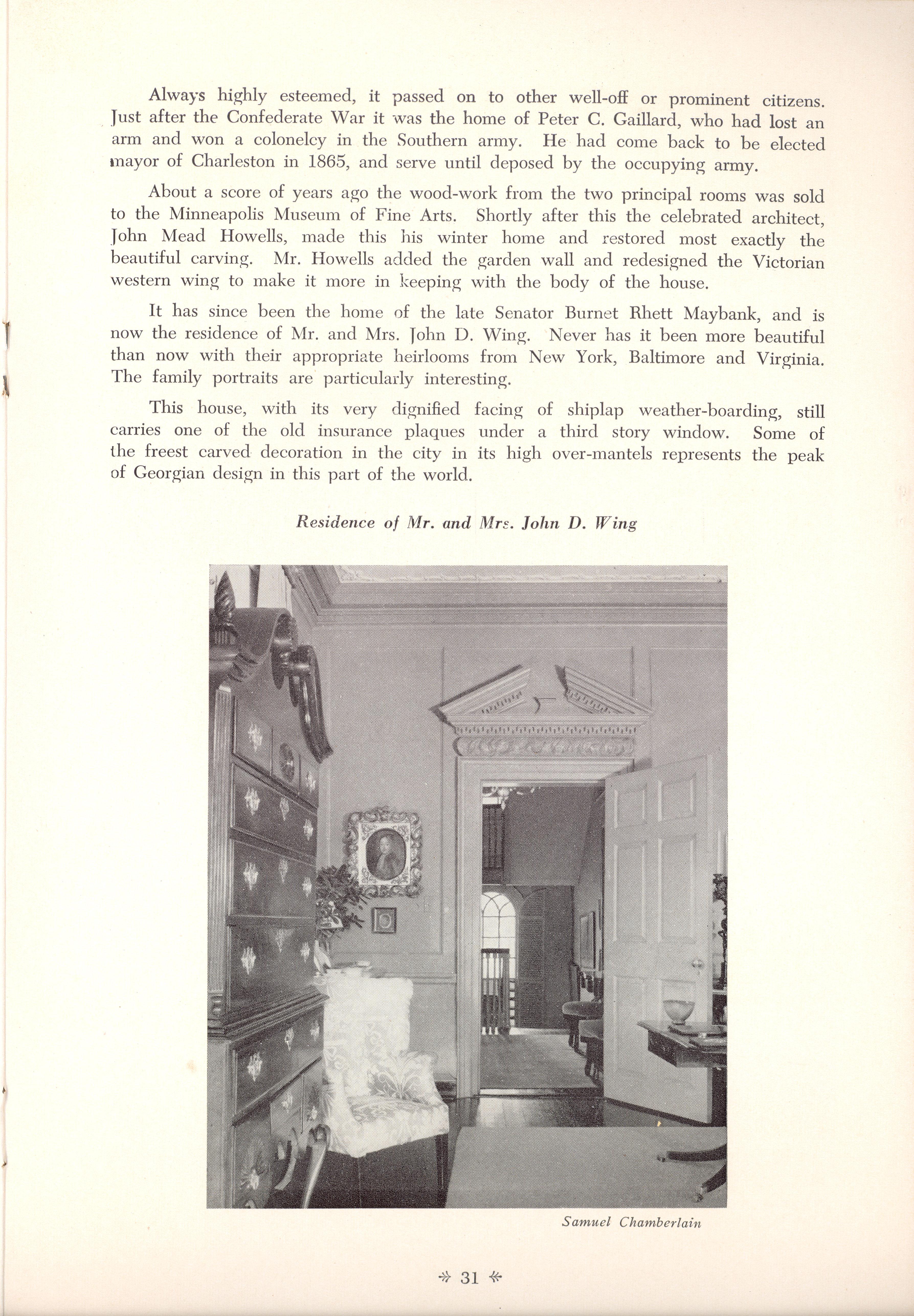 Page 31:  No. 9 - Colonel John Stuart's House, 106 Tradd Street, c. 1772, cont'd