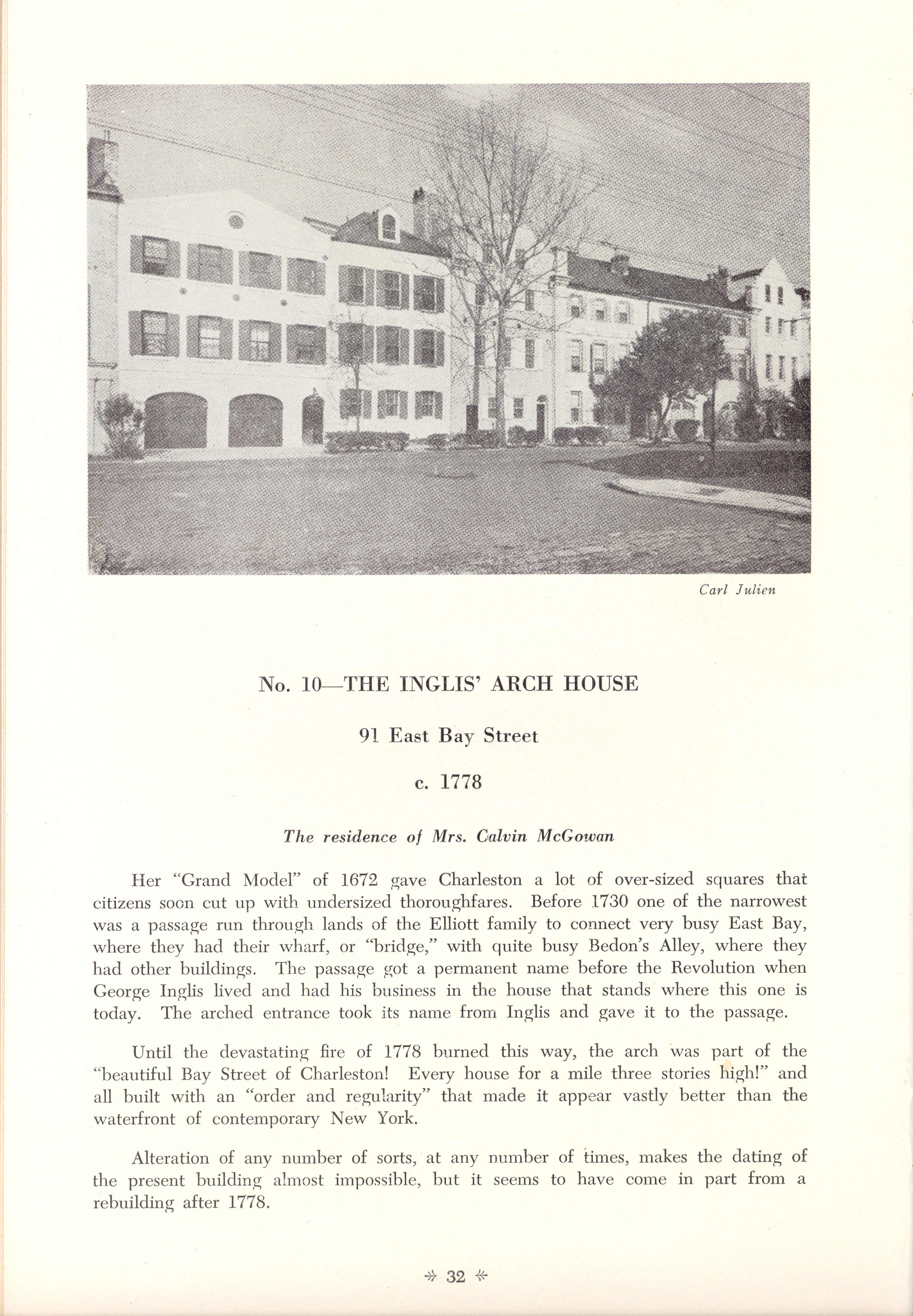 Page 32:  No. 10 - The Inglis Arch House, 91 East Bay Street, c. 1778