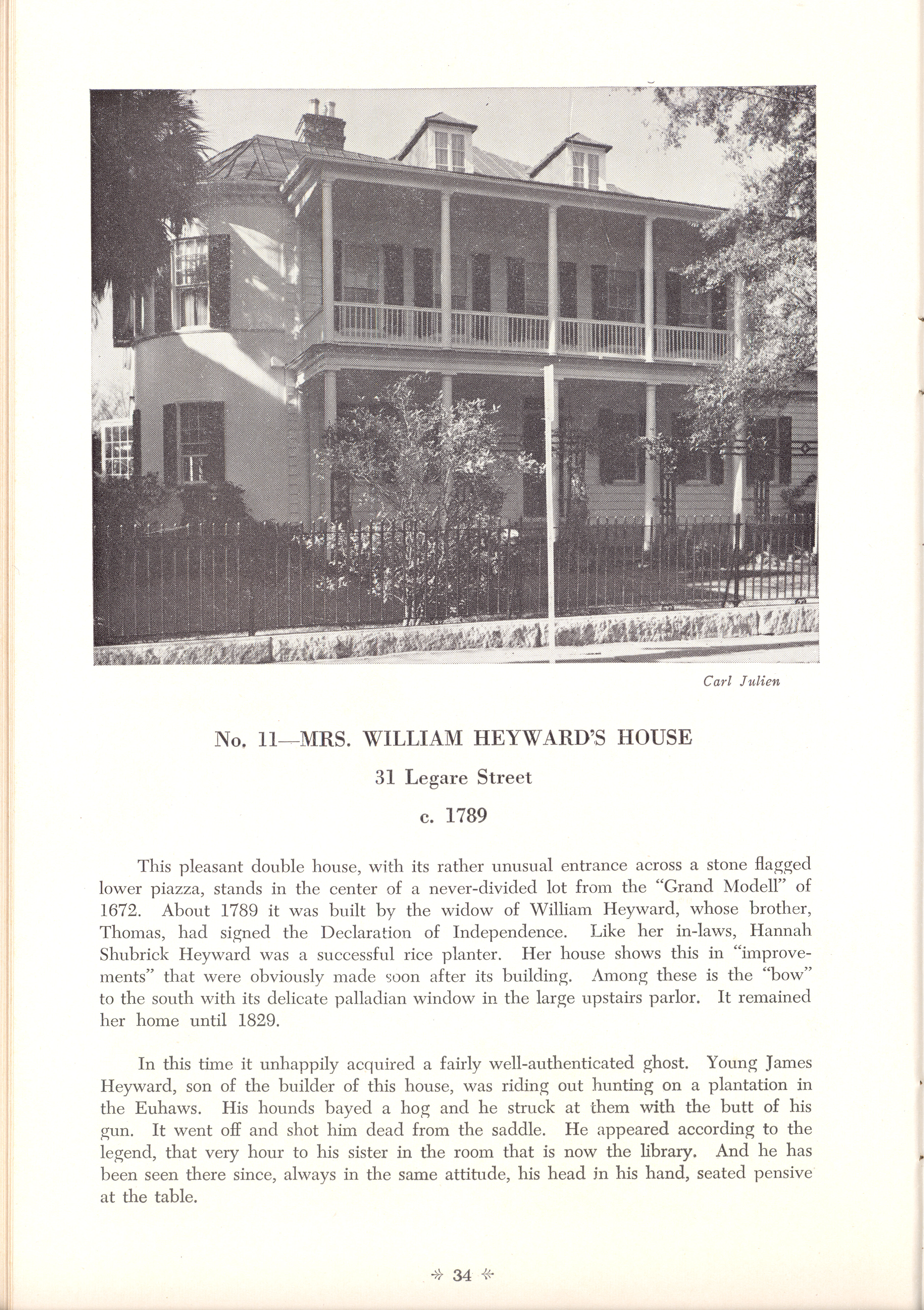 Page 34:  No. 11 - Mrs. William Heyward's House, 31 Legare Street, c. 1789