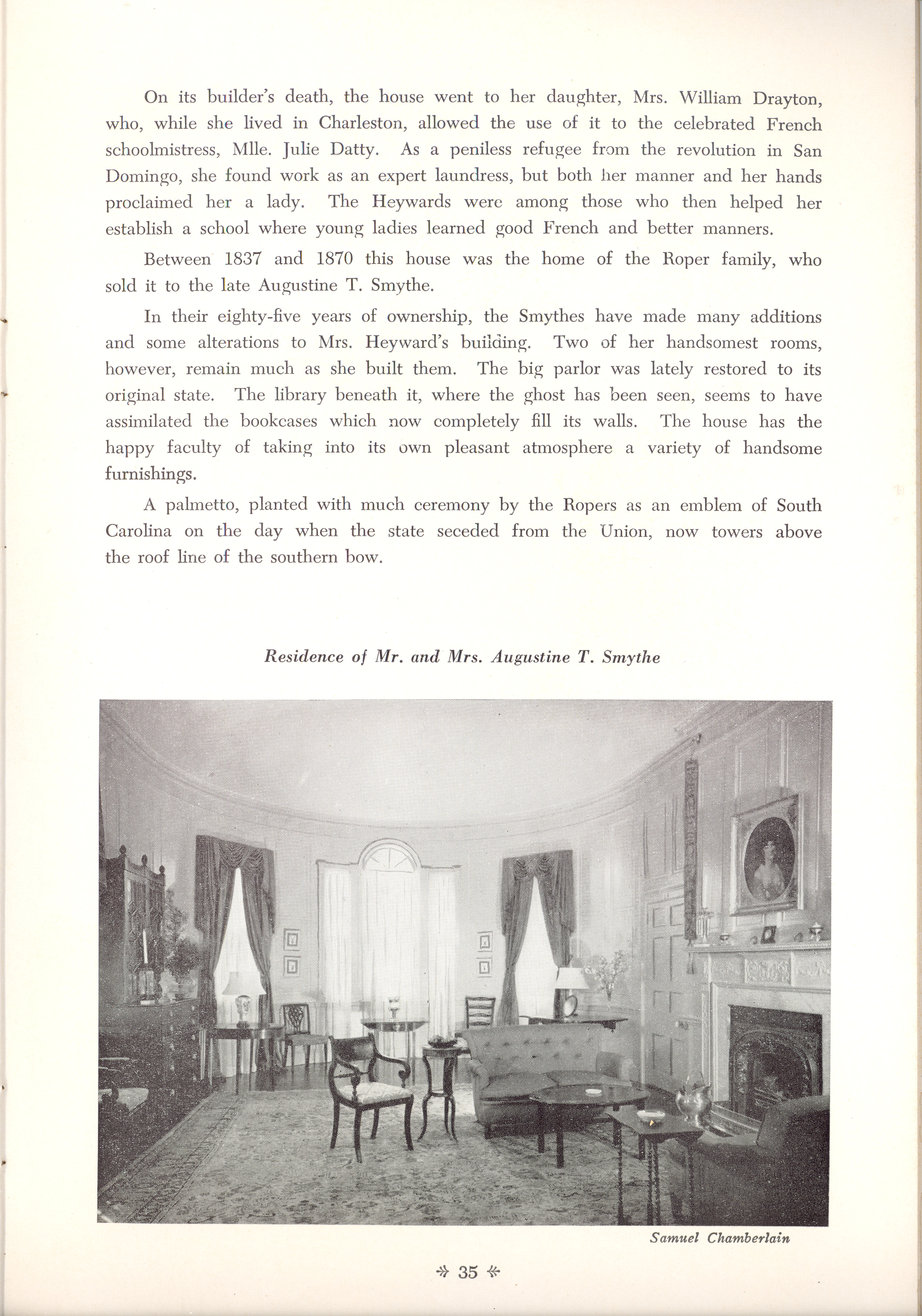Page 35:  No. 11 - Mrs. William Heyward's House, 31 Legare Street, c. 1789, cont'd