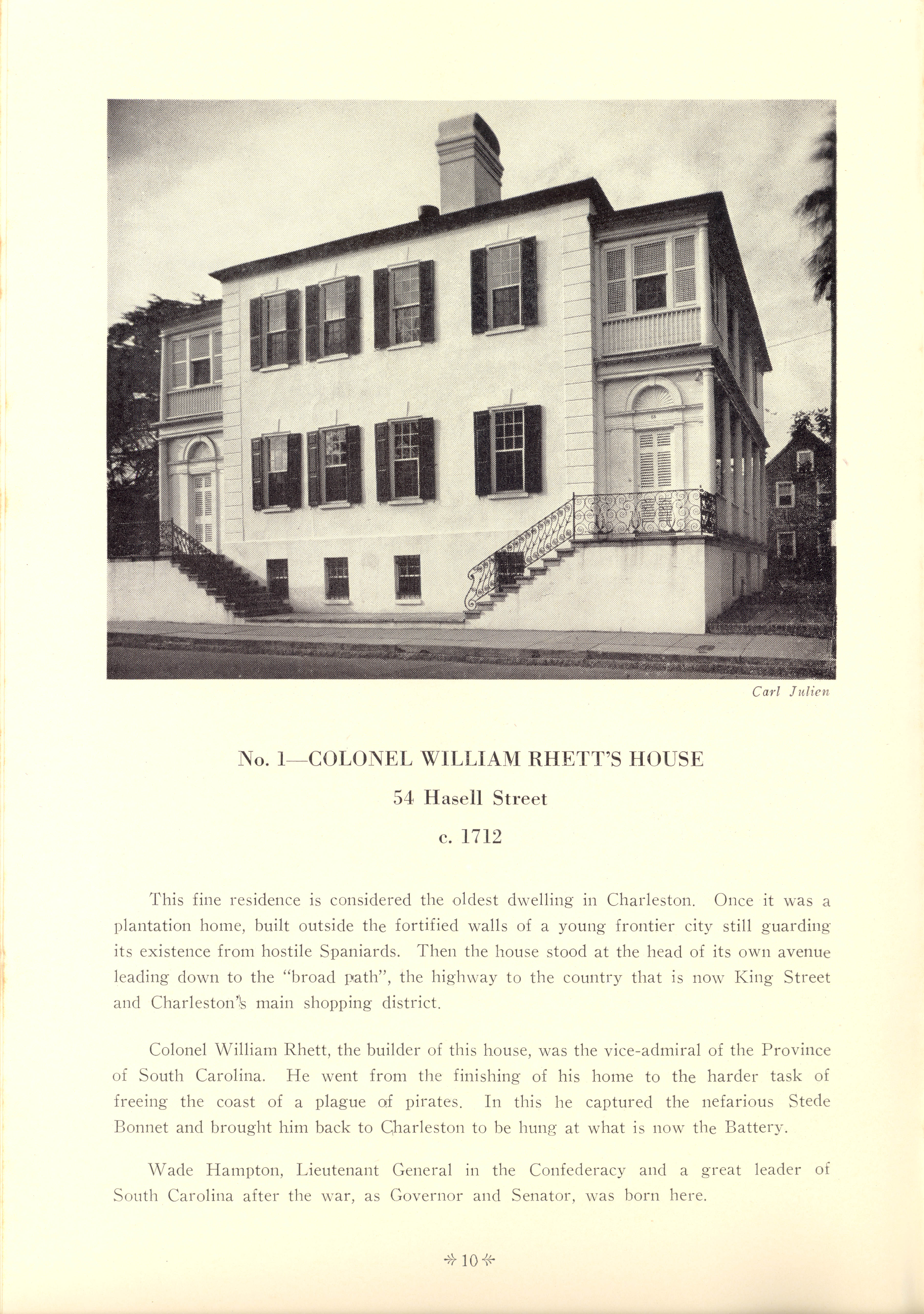 Page 10:  No. 1 - Colonel William Rhett's House, 54 Hasell Street, c. 1712