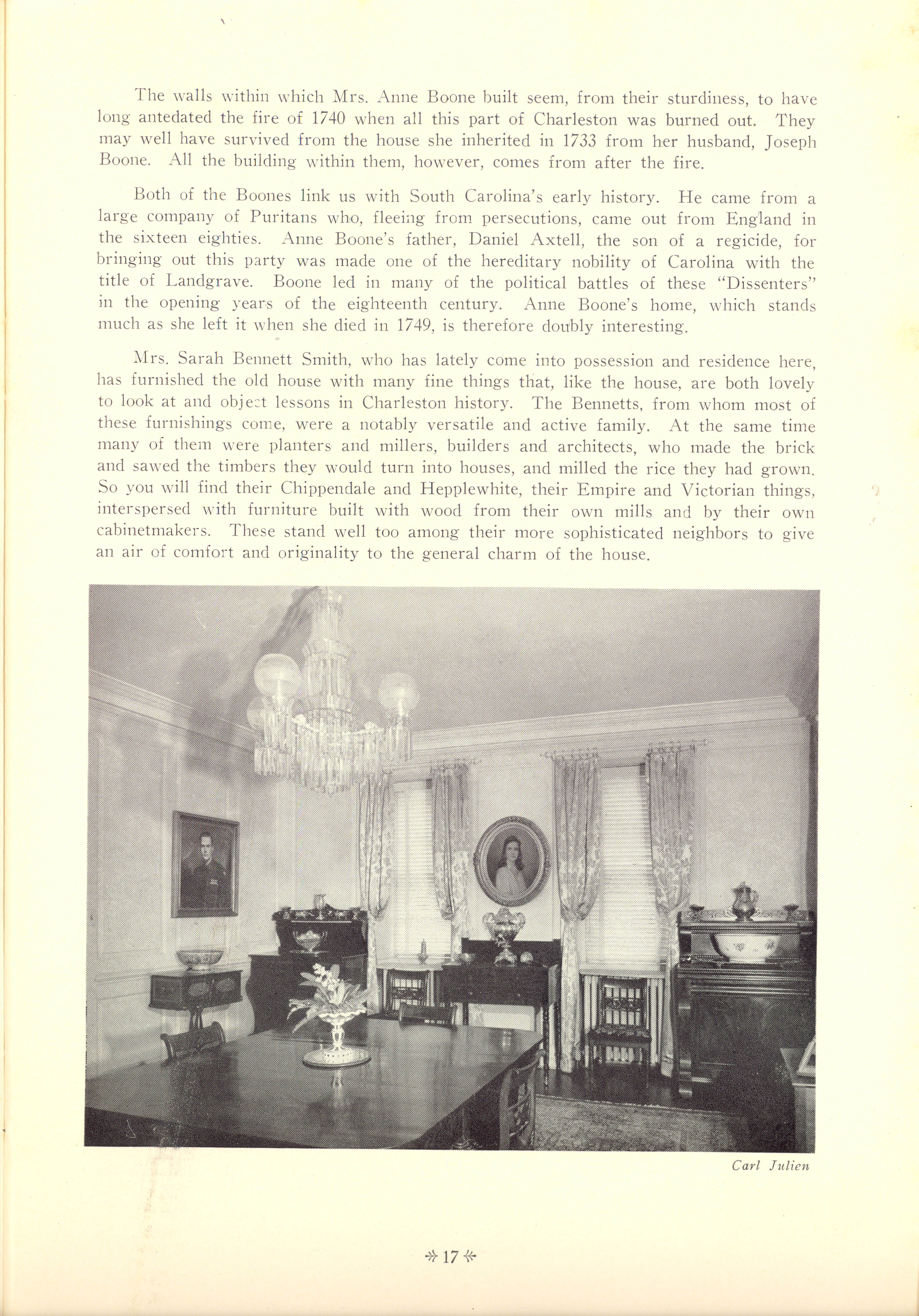 Page 17:  No. 4 - Mrs. Anne Boone's House, 47 East Bay Street, c. 1740, cont'd