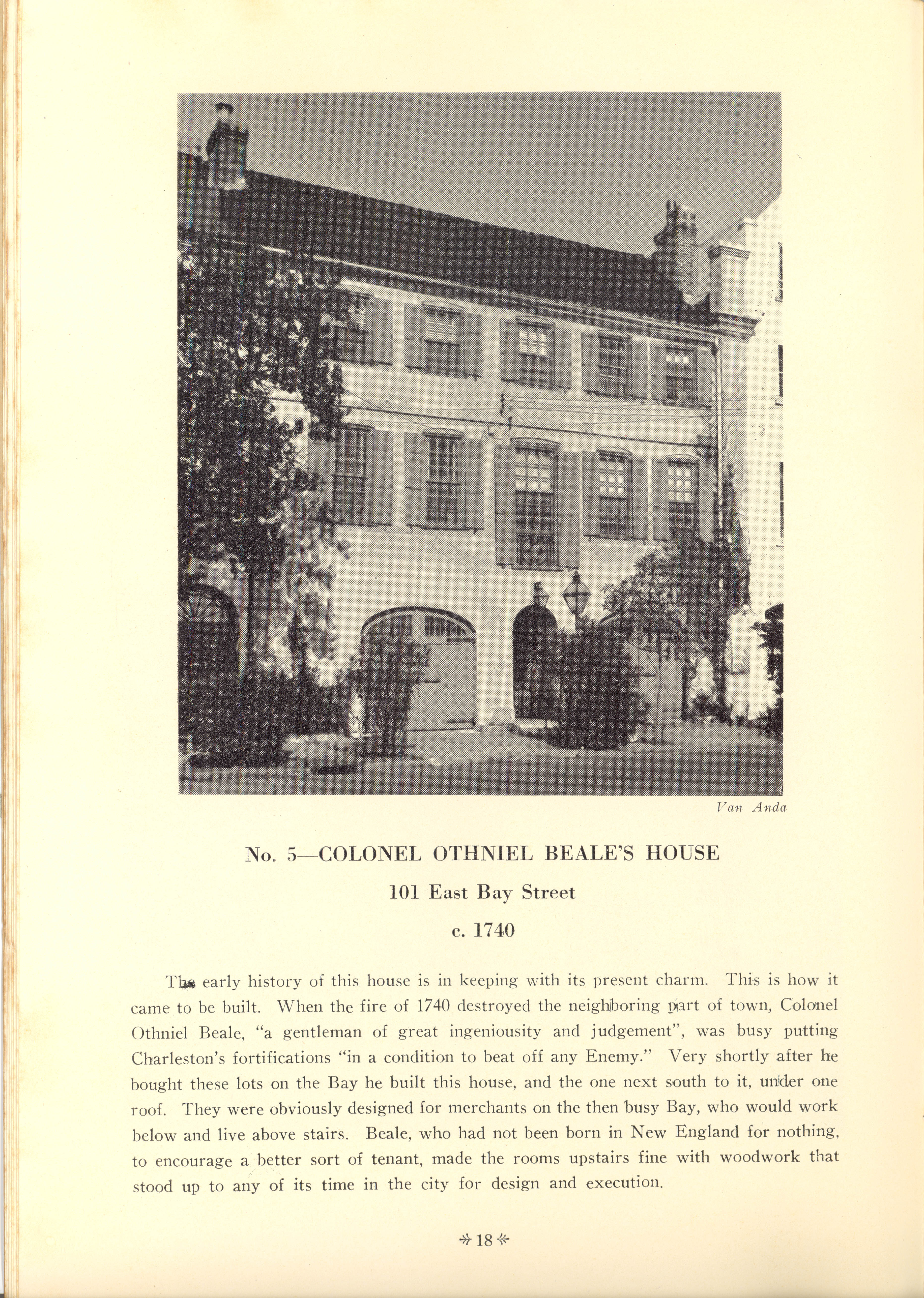 Page 18:  No. 5 - Colonel Othniel Beale's House, 101 East Bay Street, c. 1740
