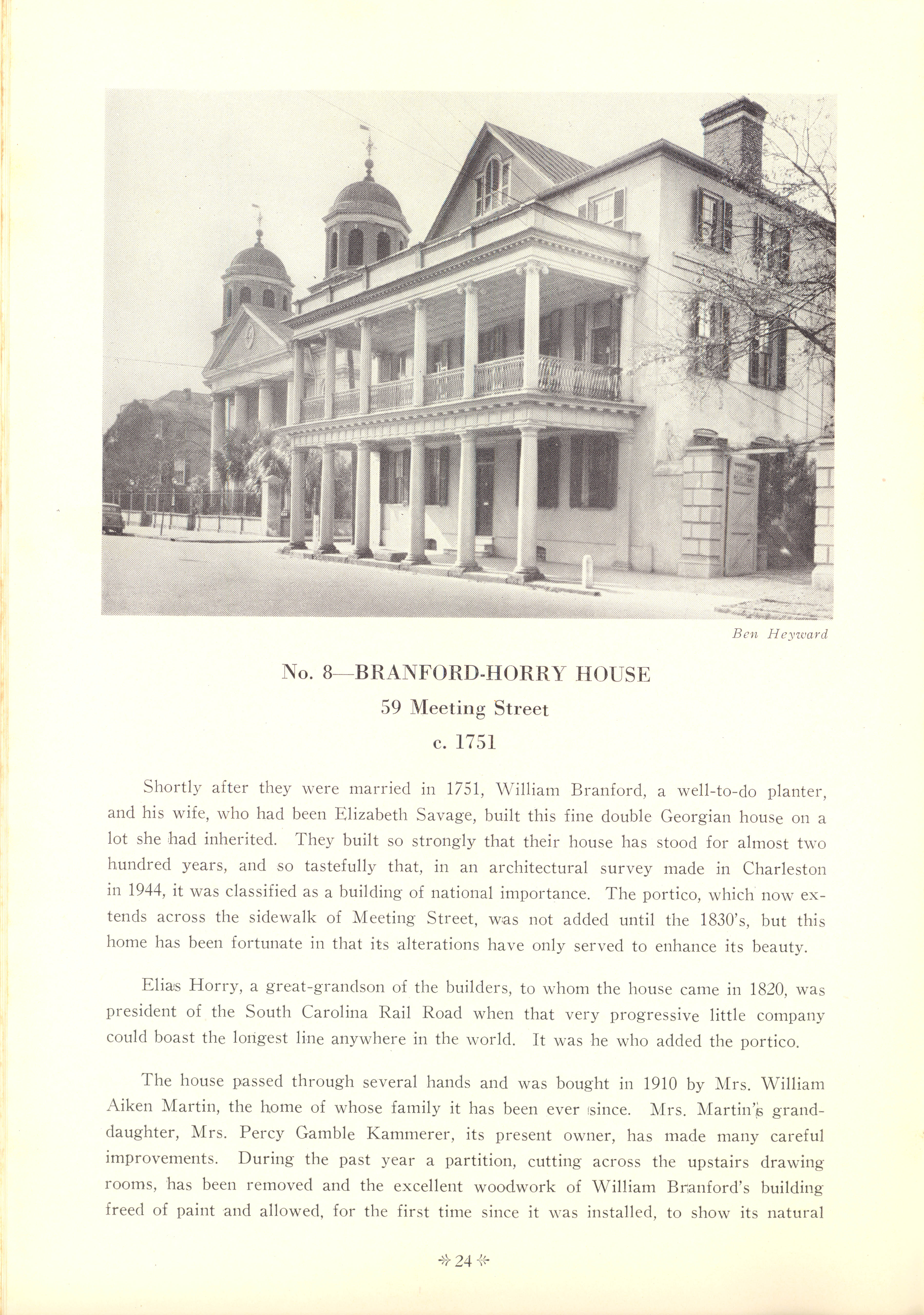 Page 24:  No. 8 - Branford-Horry House, 59 Meeting Street, c. 1751