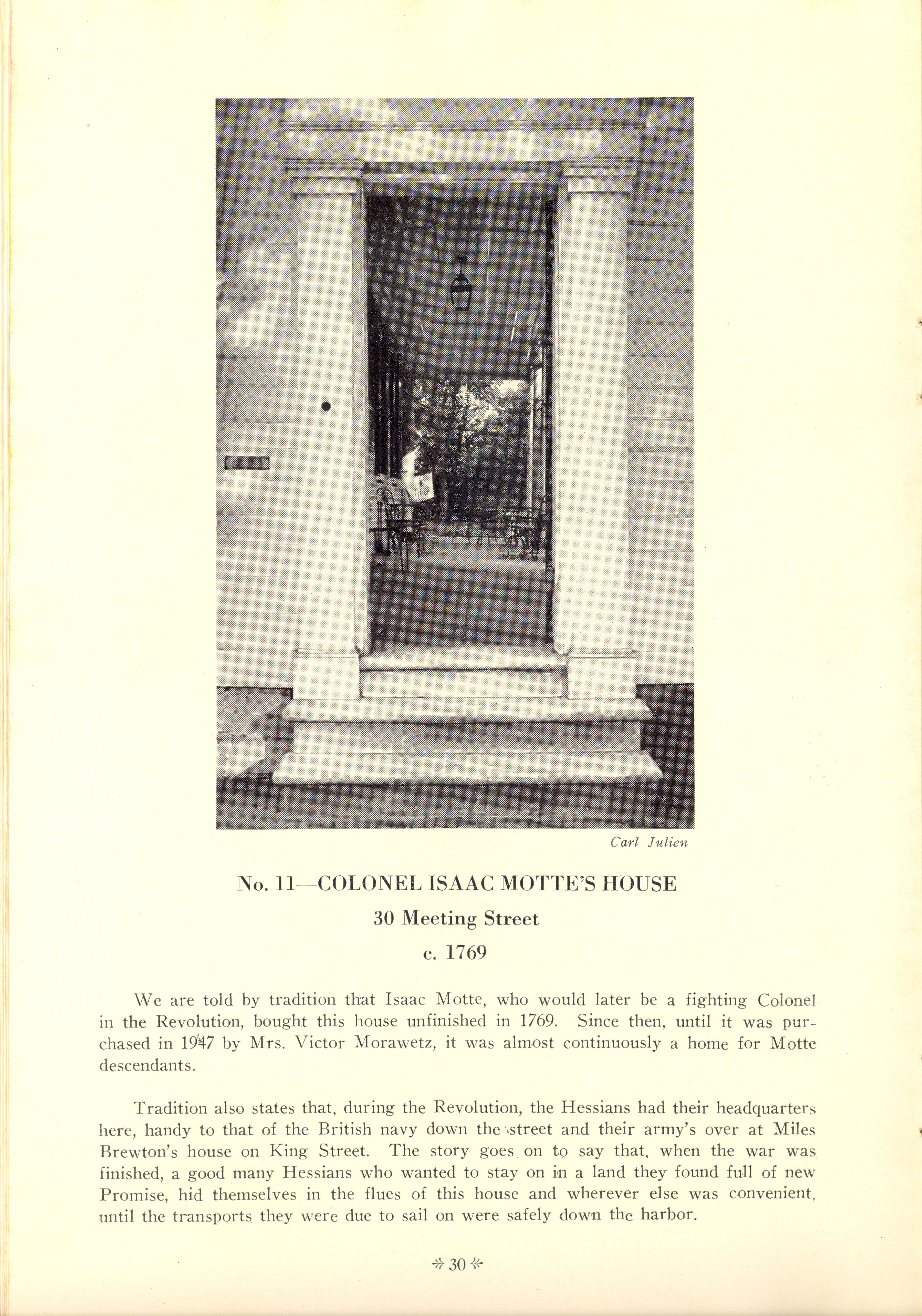 Page 30:  No. 11 - Colonel Isaac Motte's House, 30 Meeting Street, c. 1769
