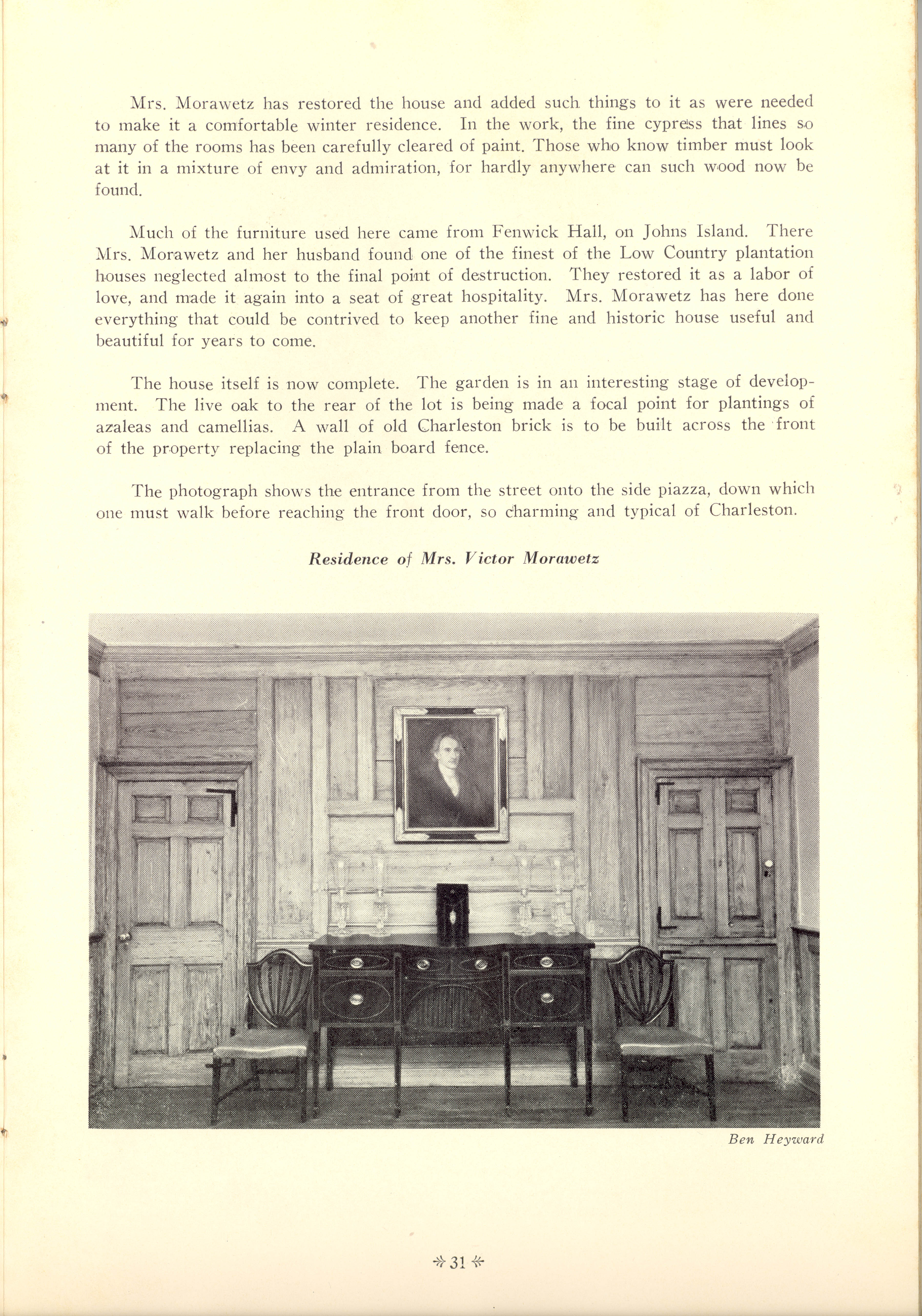 Page 31:  No. 11 - Colonel Isaac Motte's House, 30 Meeting Street, c. 1769, cont'd
