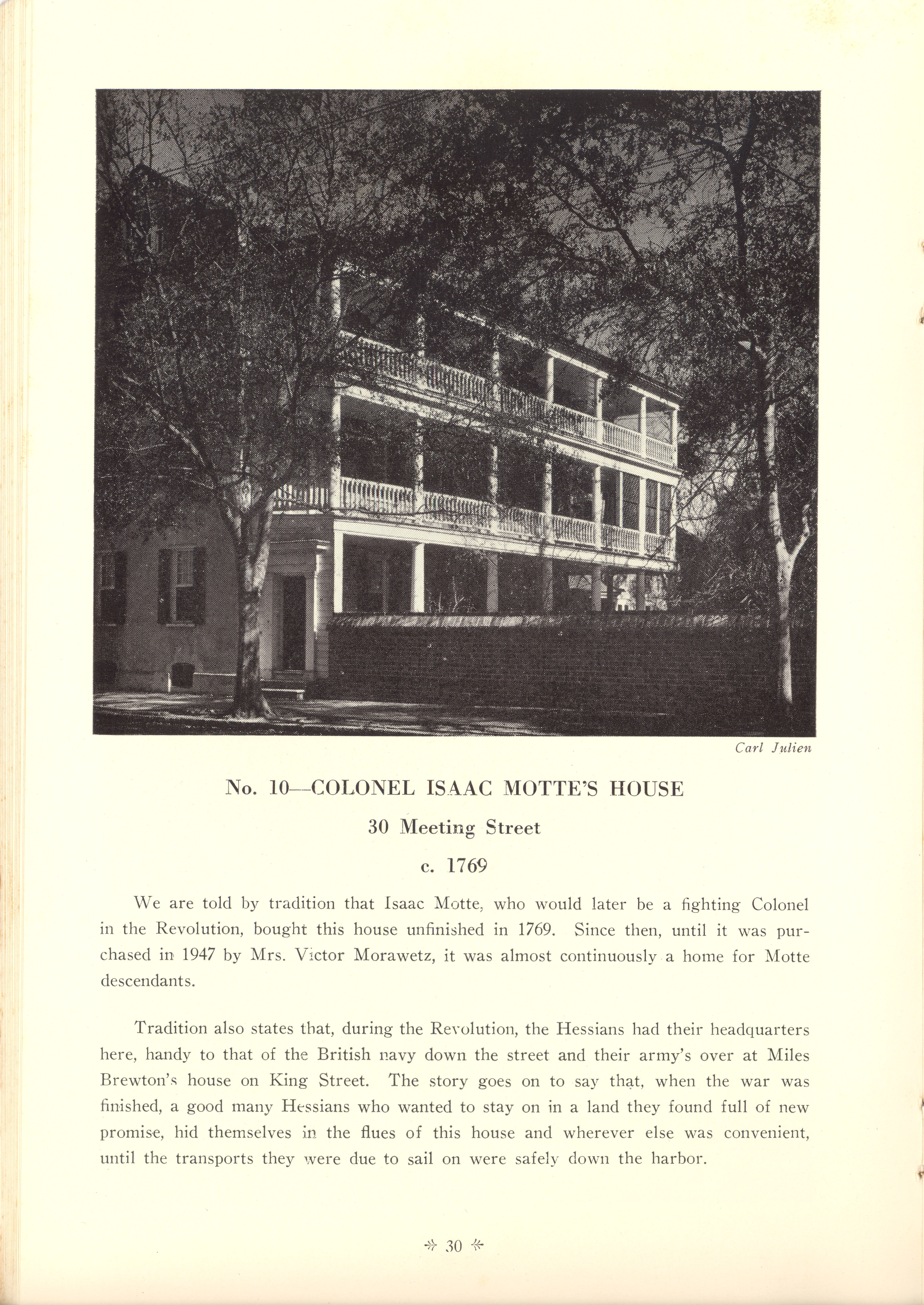 Page 30:  No. 10 - Colonel Isaac Motte's House, 30 Meeting Street, c. 1769