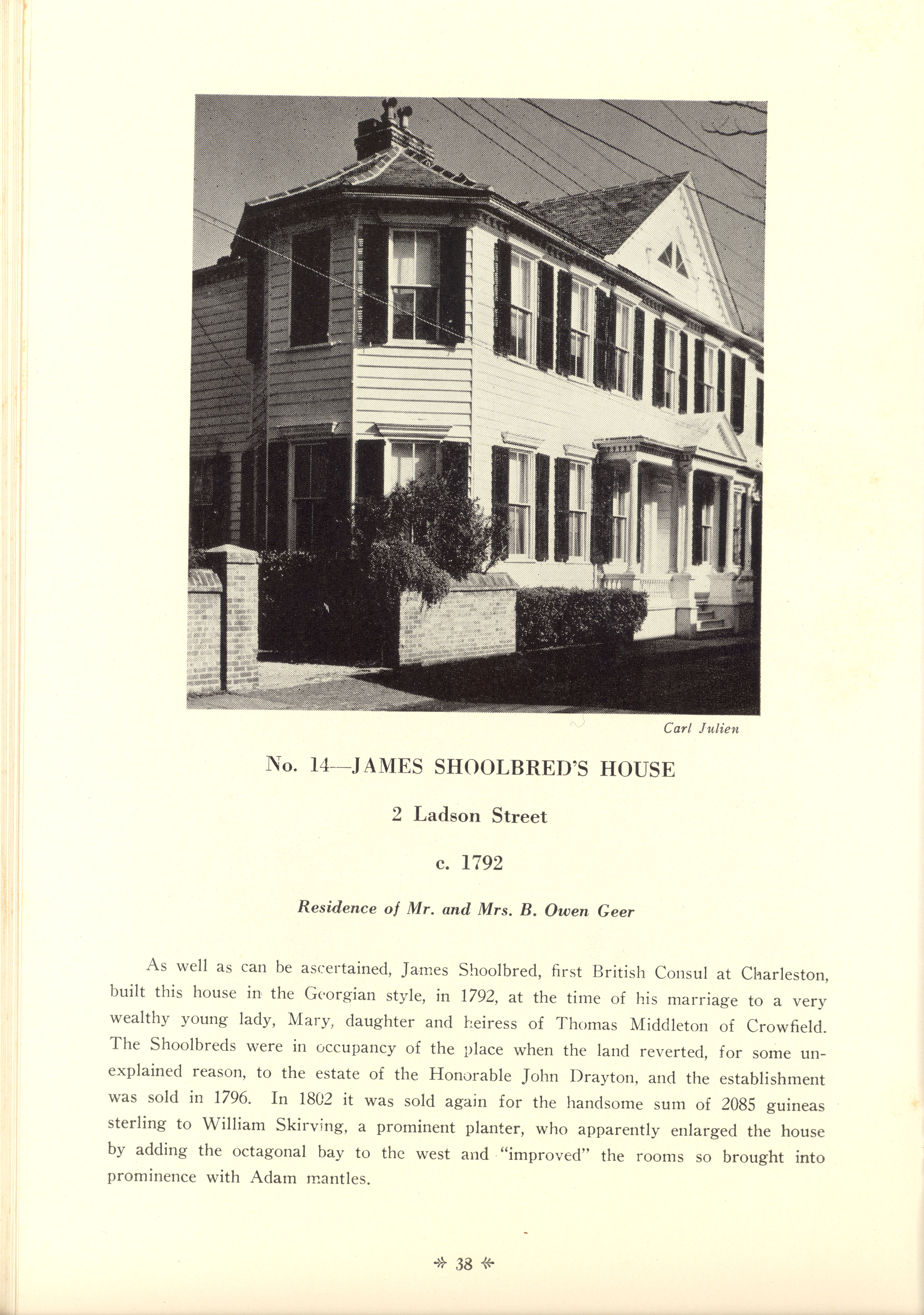Page 38:  No. 14 - James Shoolbred's House, 2 Ladson Street, c. 1792