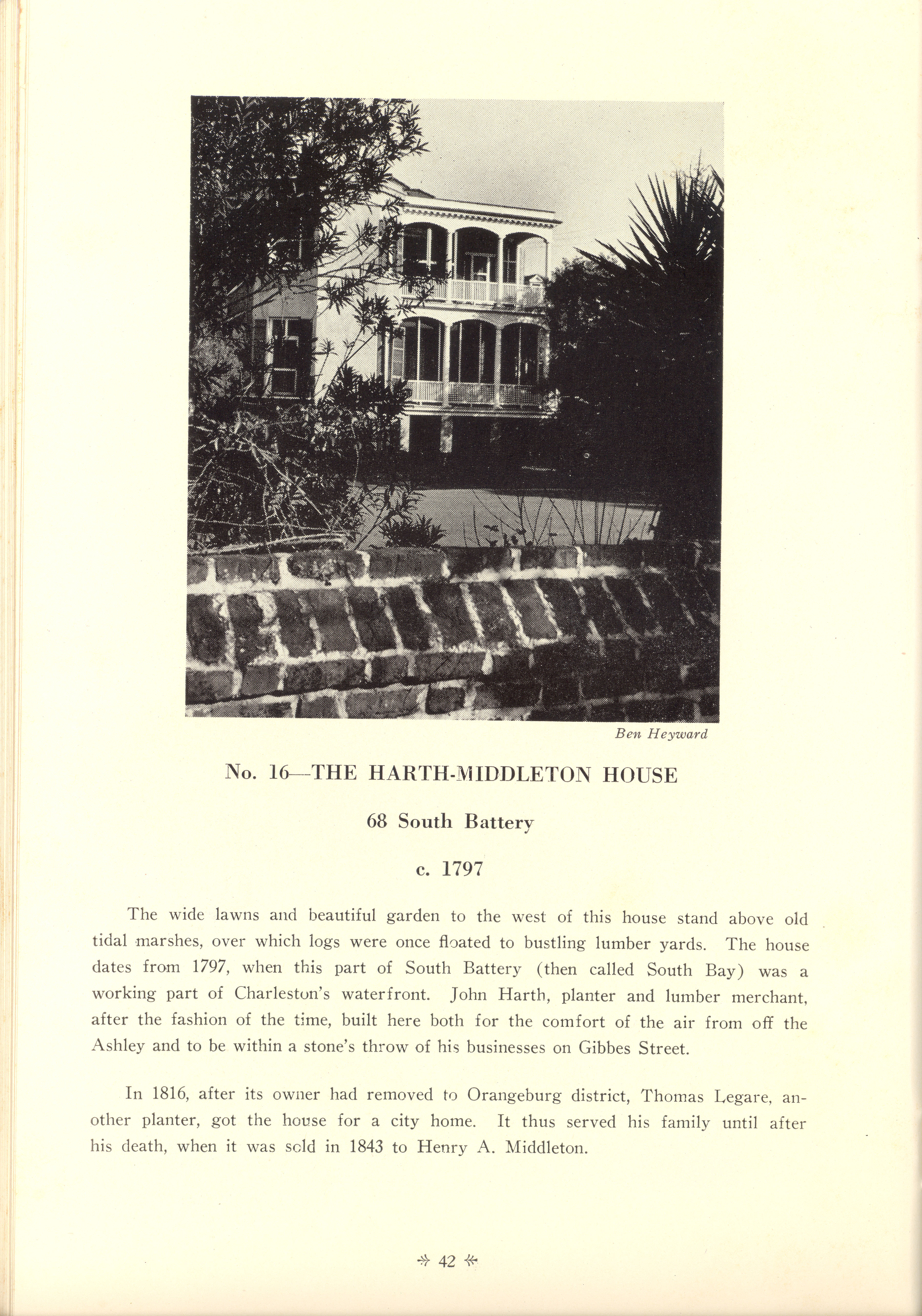 Page 42:  No. 16 - The Harth-Middleton House, 68 South Battery, c. 1797