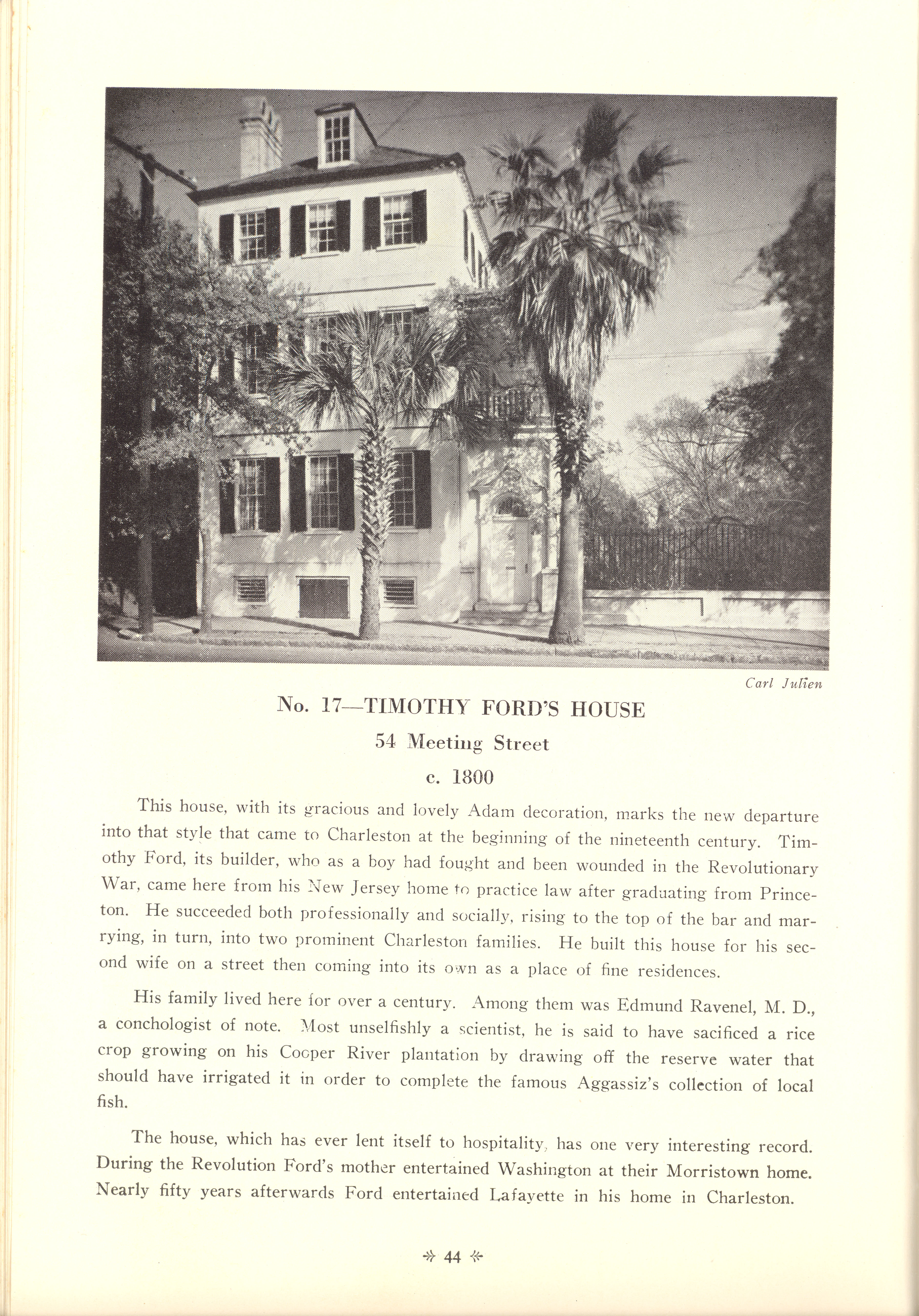 Page 44:  No.17 - Timothy Ford's House, 54 Meeting Street, c. 1800