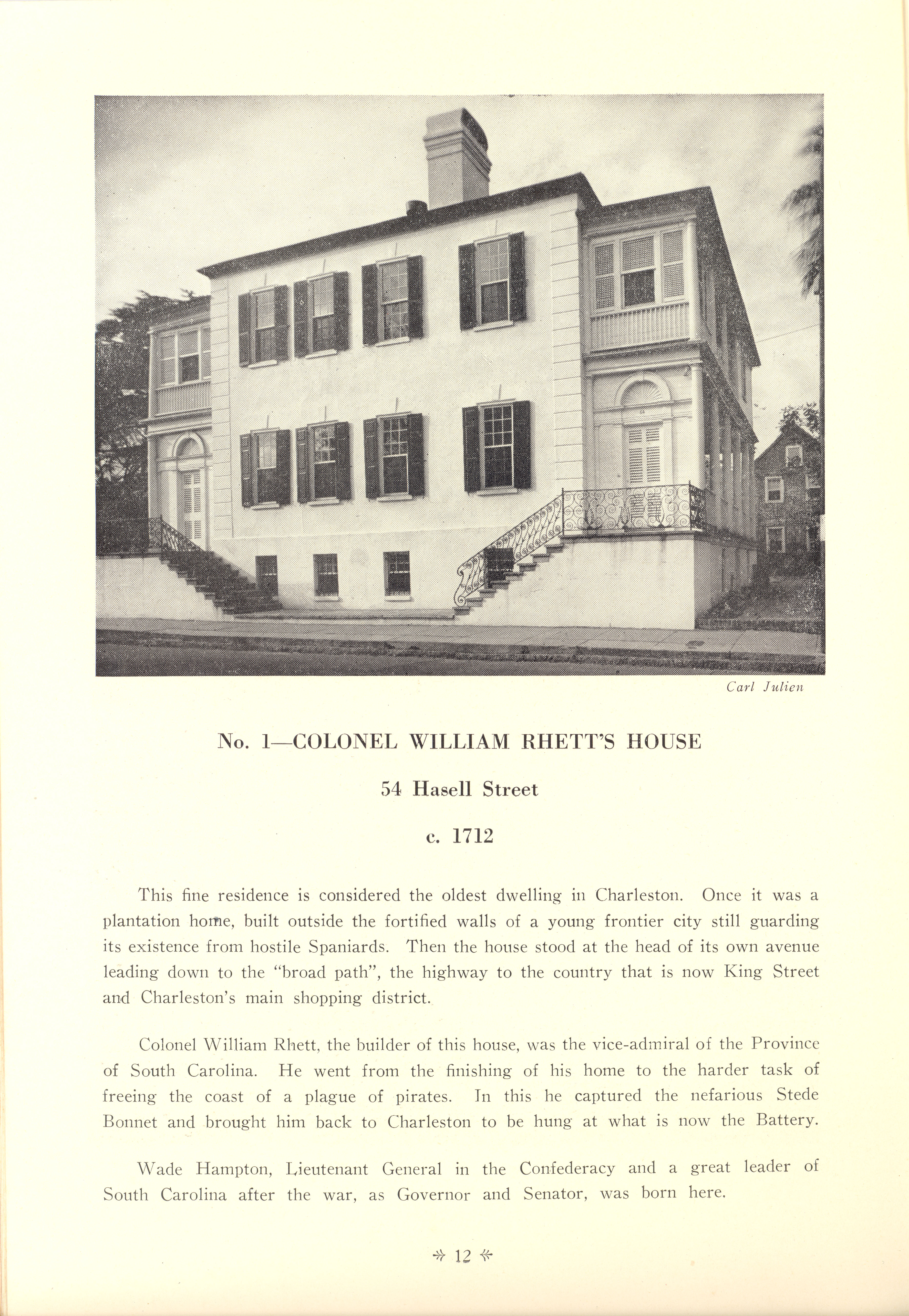 Page 12:  No. 1 - Colonel William Rhett's House, 54 Hasell Street, c. 1712