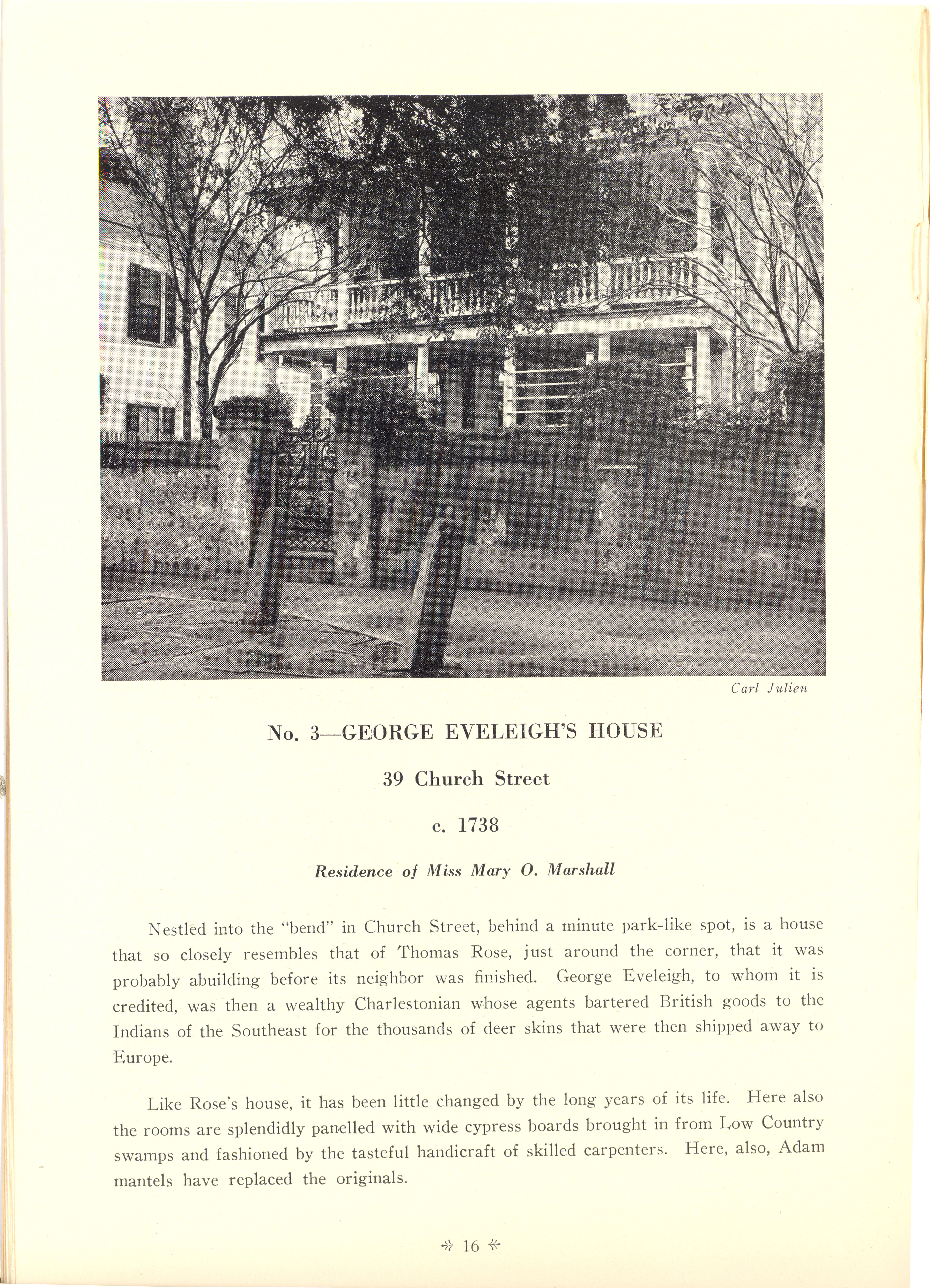 Page 16:  No. 3 - George Eveleigh's House, 39 Church Street, c. 1738