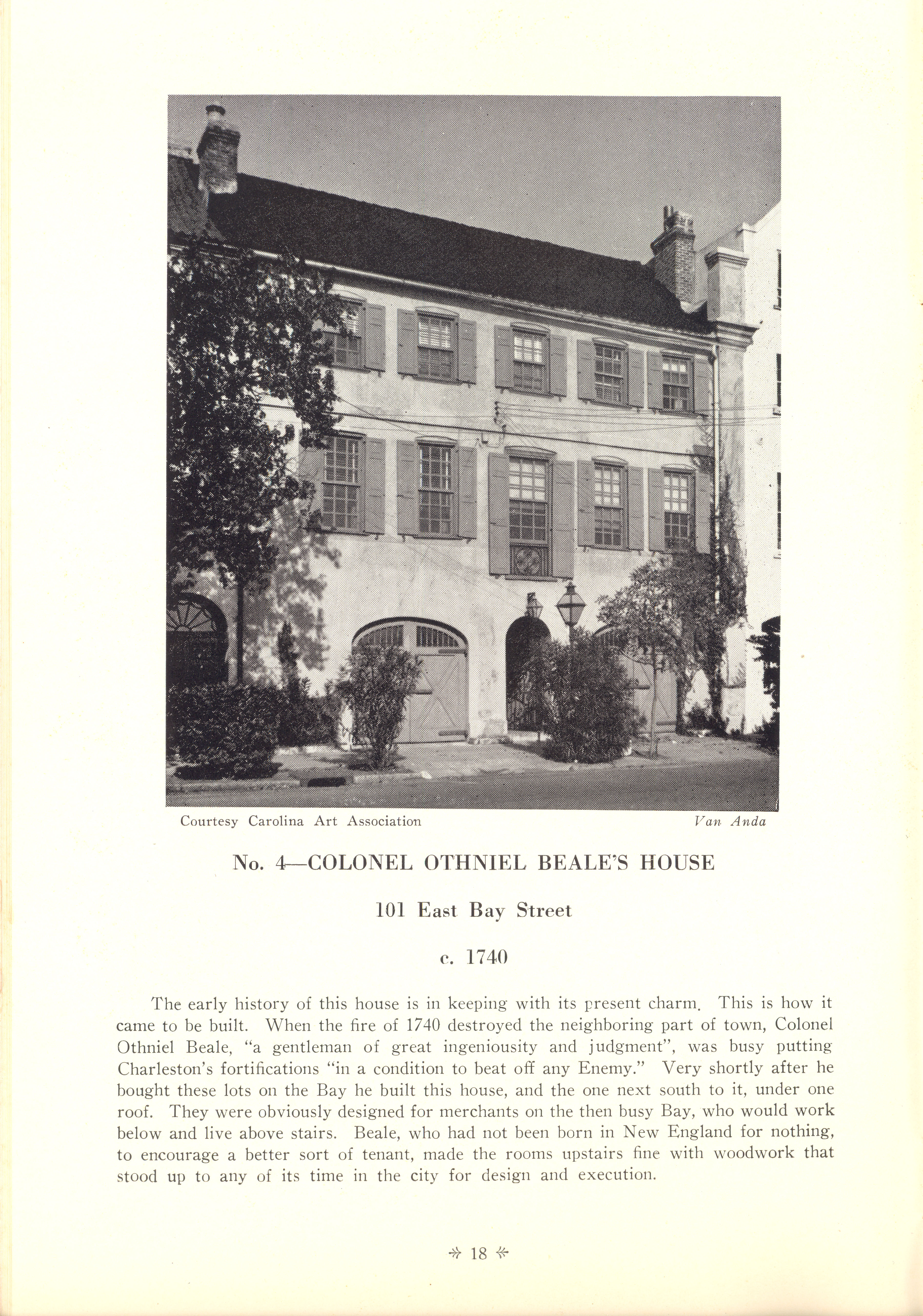 Page 18:  No. 4 - Colonel Othniel Beale's House, 101 East Bay Street, c. 1740