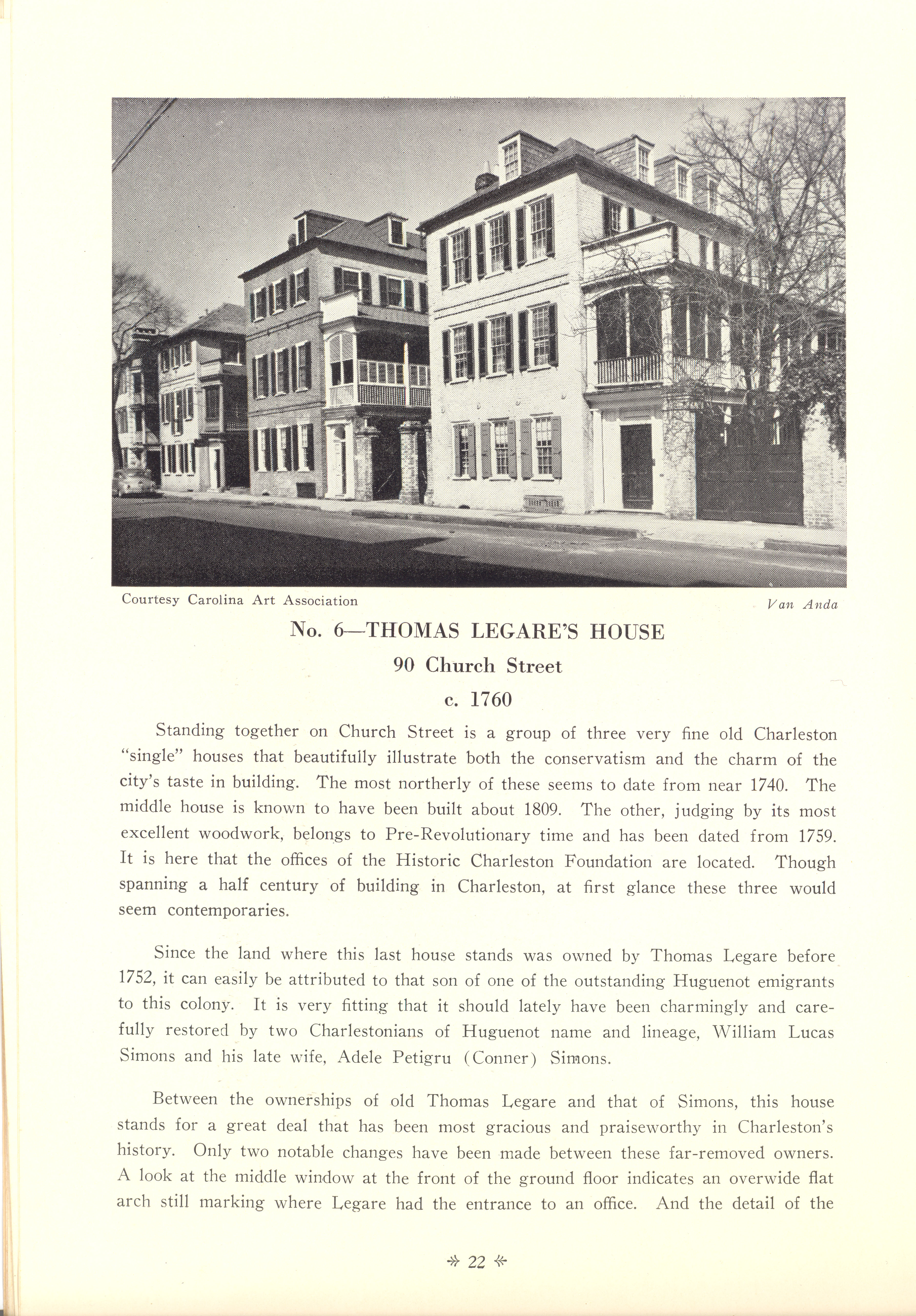 Page 22:  No. 6 - Thomas Legare's House, 90 Church Street, c. 1760