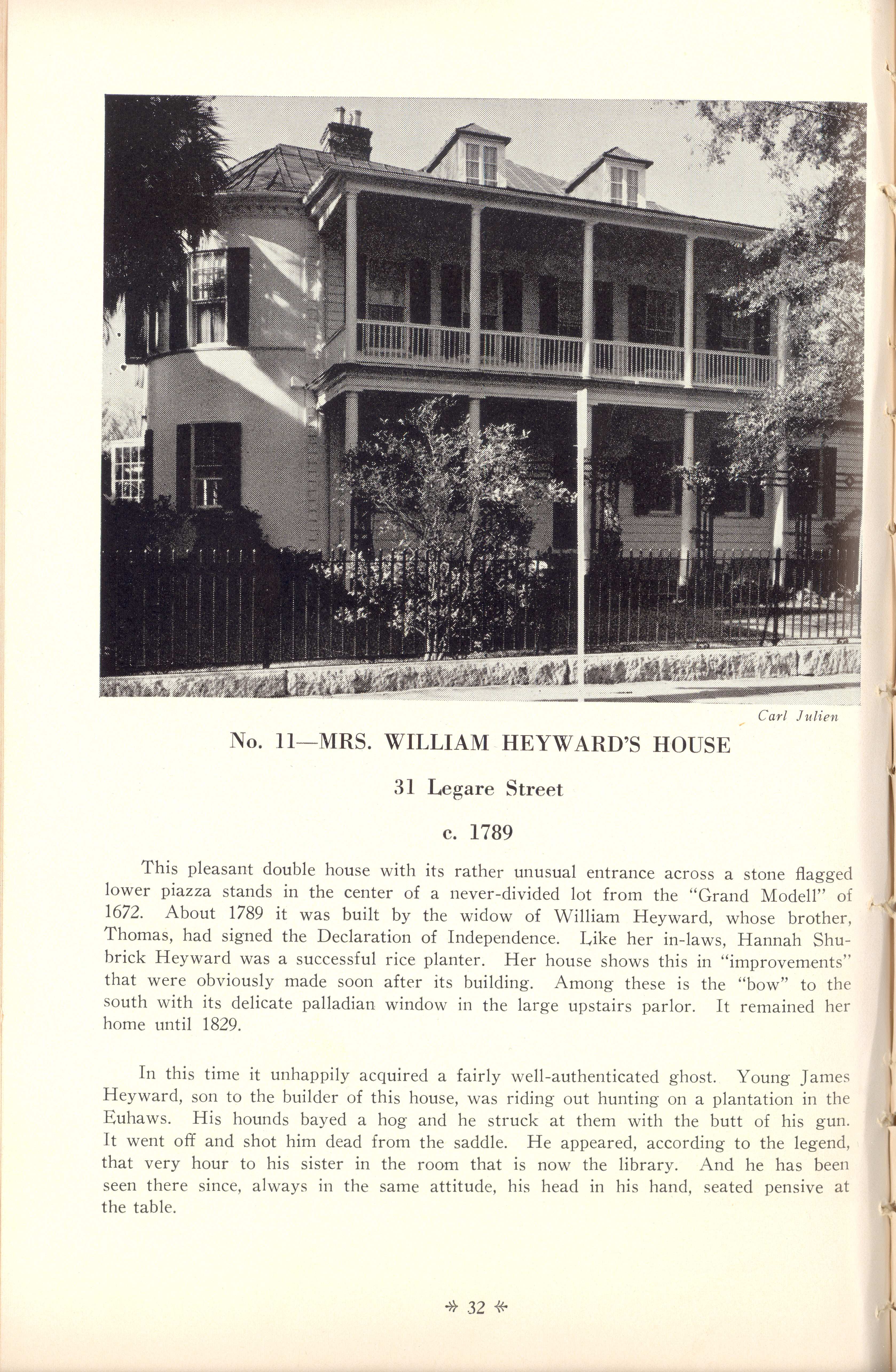 Page 32:  No. 11 - Mrs. William Heyward's House, 31 Legare Street, c. 1789