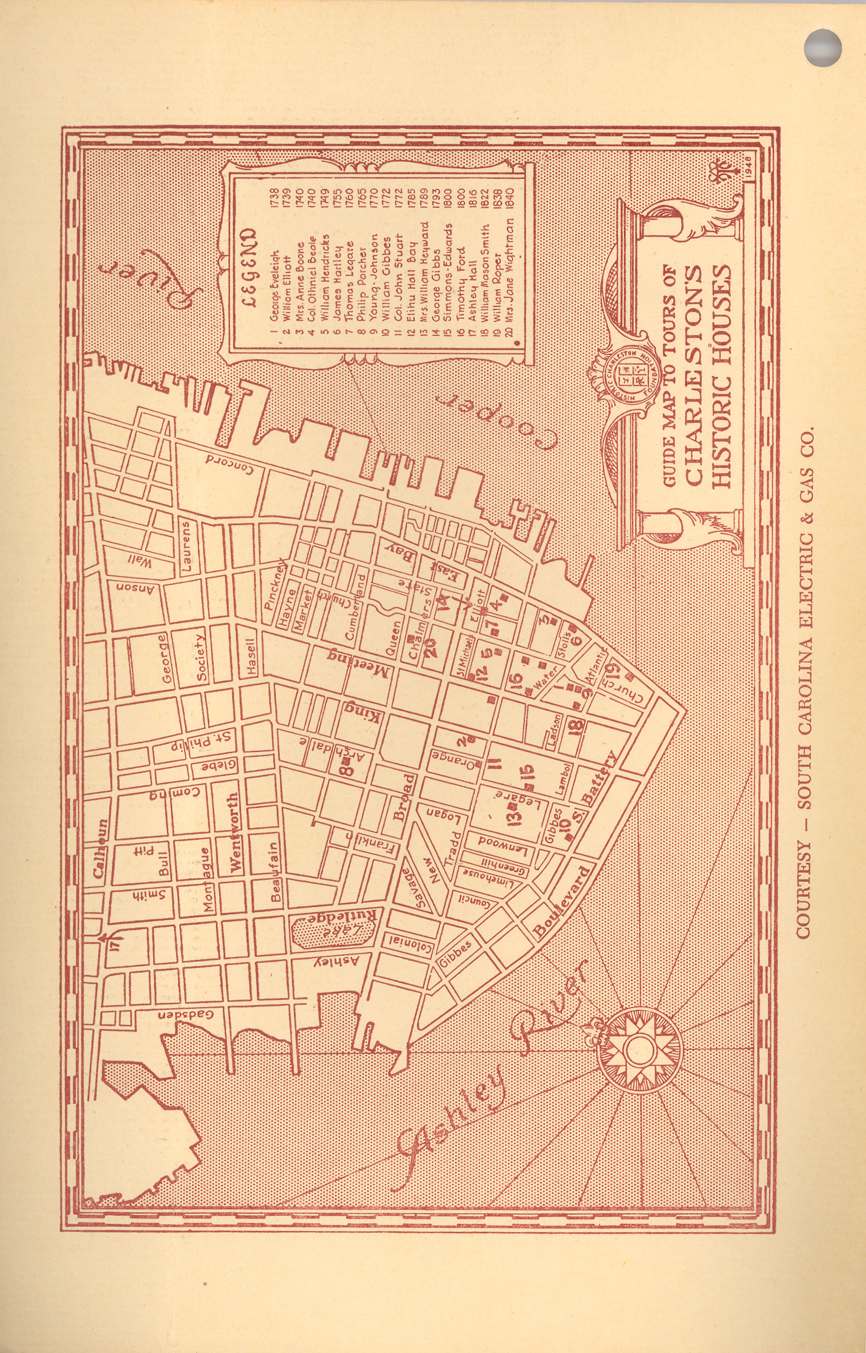 Front Cover-Verso:  Guide Map to Tours of Charleston's Historic Houses