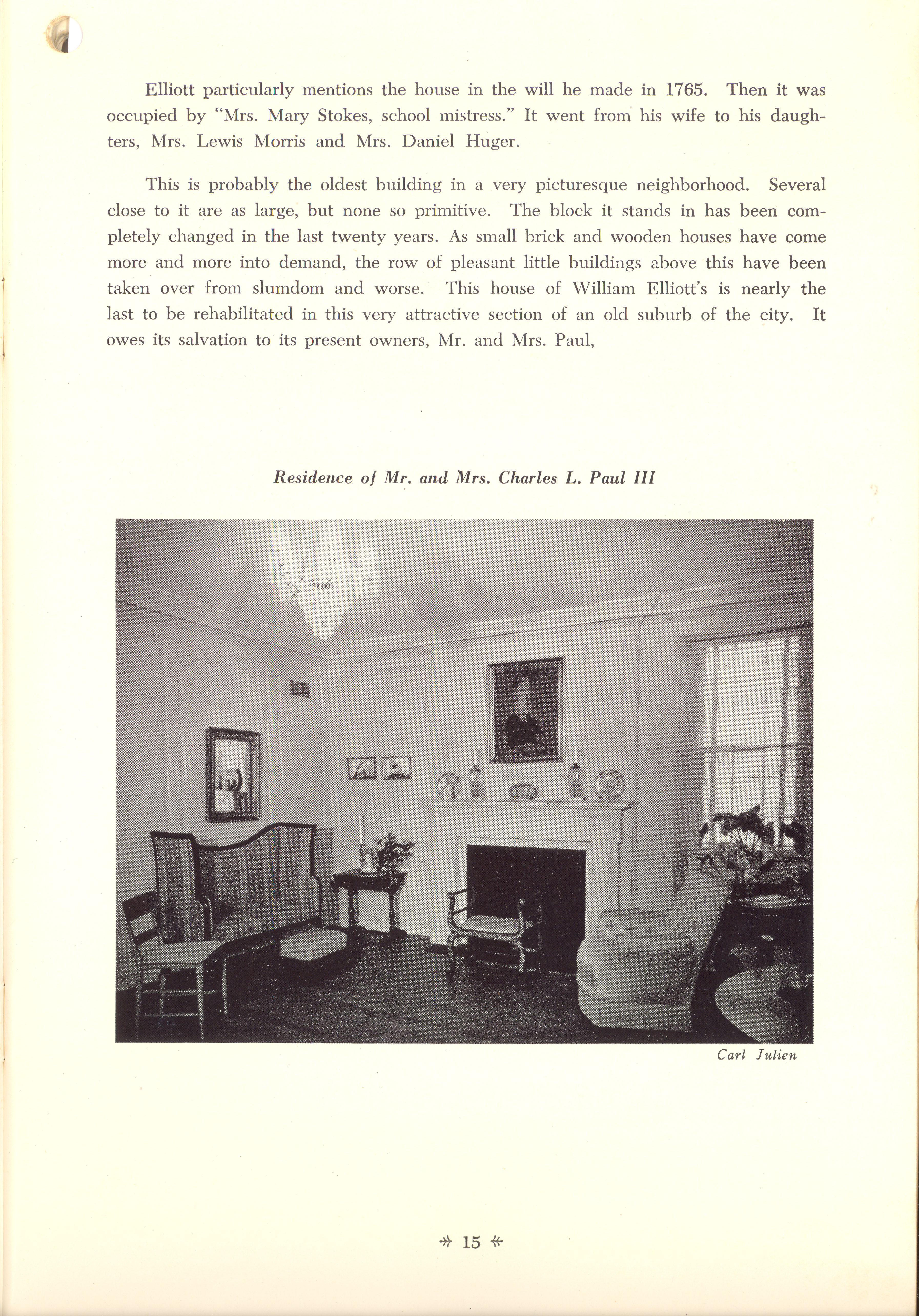 Page 15:  No. 2 - William Elliott's House, 75 King Street, c. 1739, cont'd