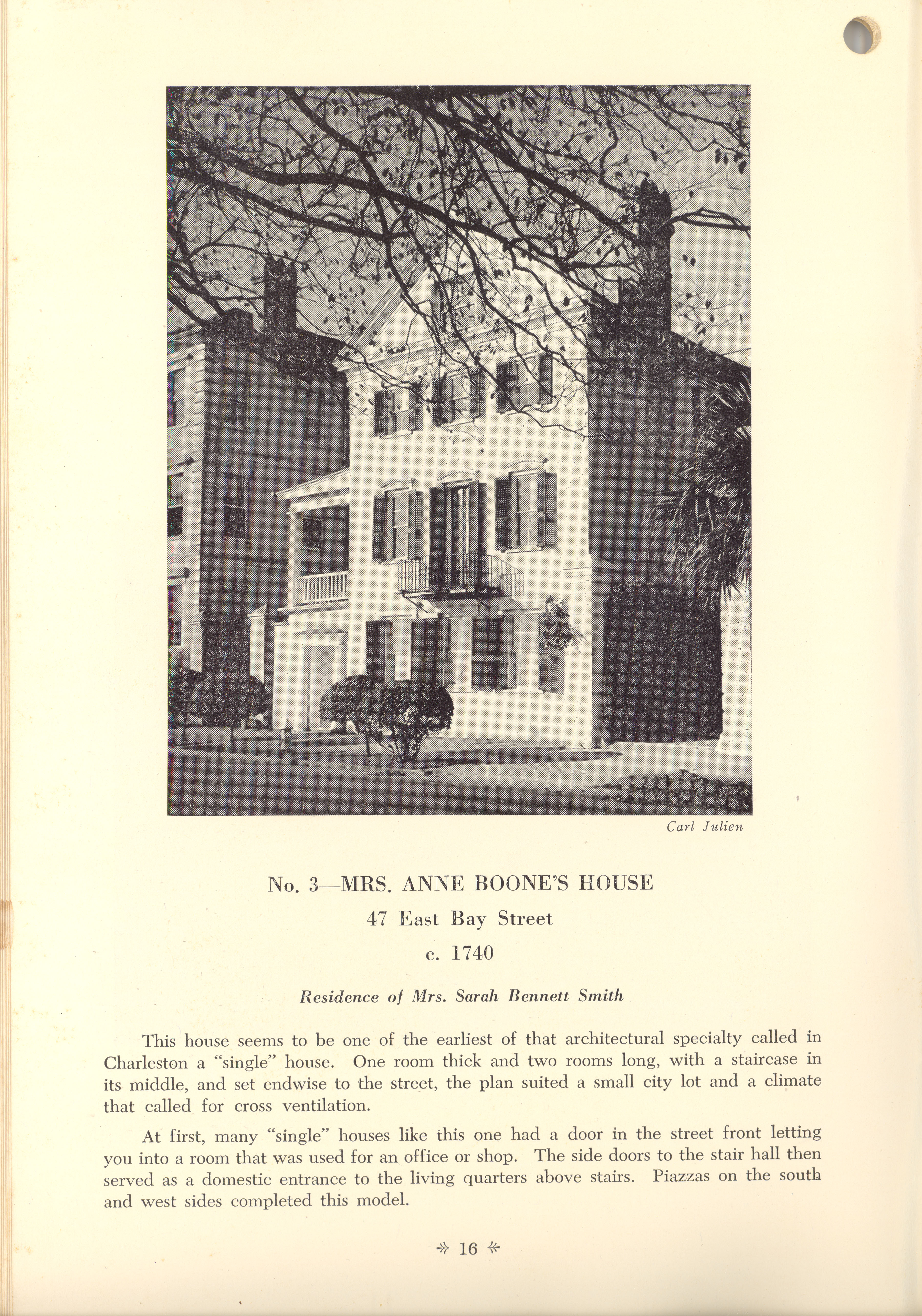 Page 16:  No. 3 - Mrs. Anne Boone's House, 47 East Bay Street, c. 1740