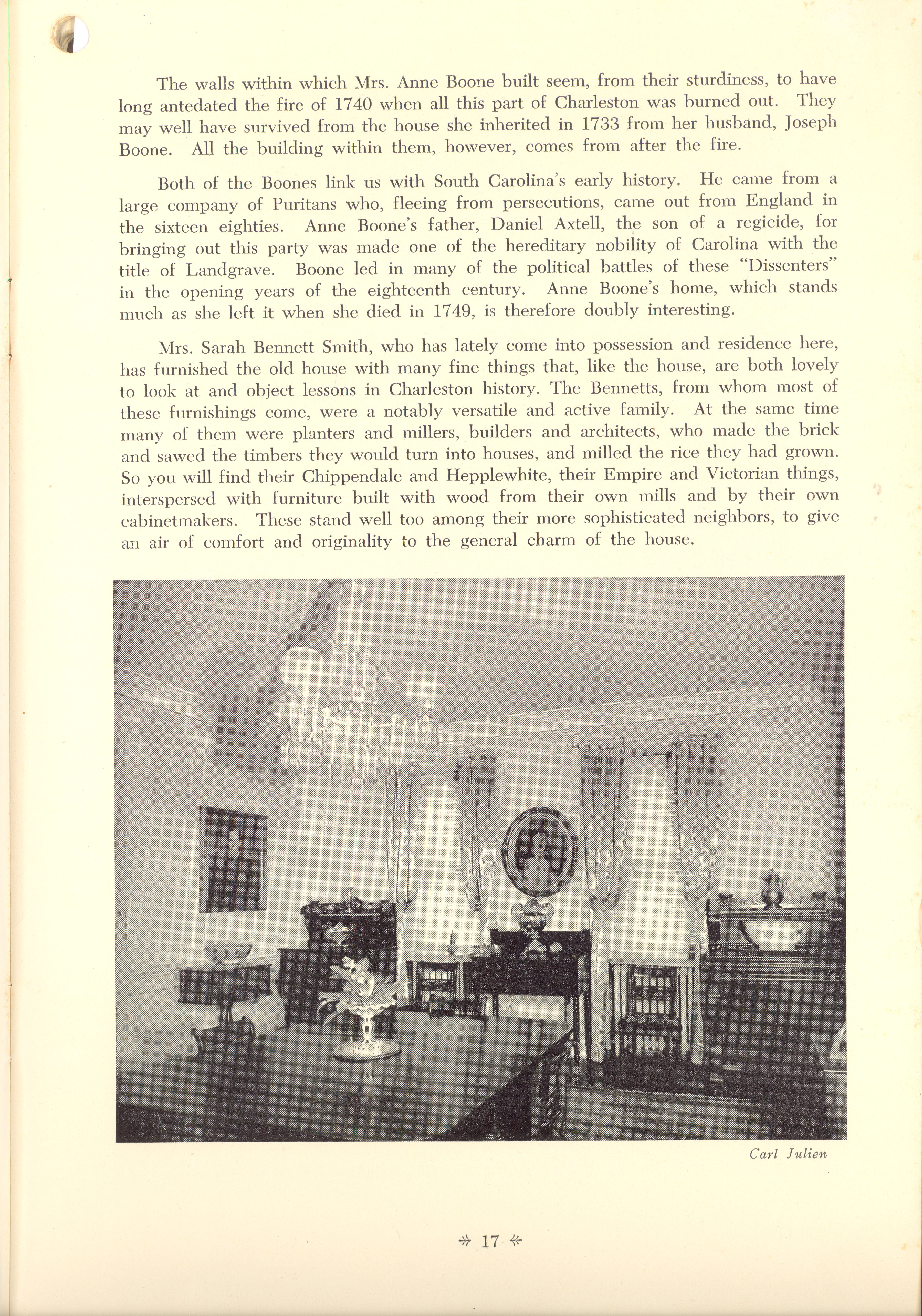 Page 17:  No. 3 - Mrs. Anne Boone's House, 47 East Bay Street, c. 1740, cont'd