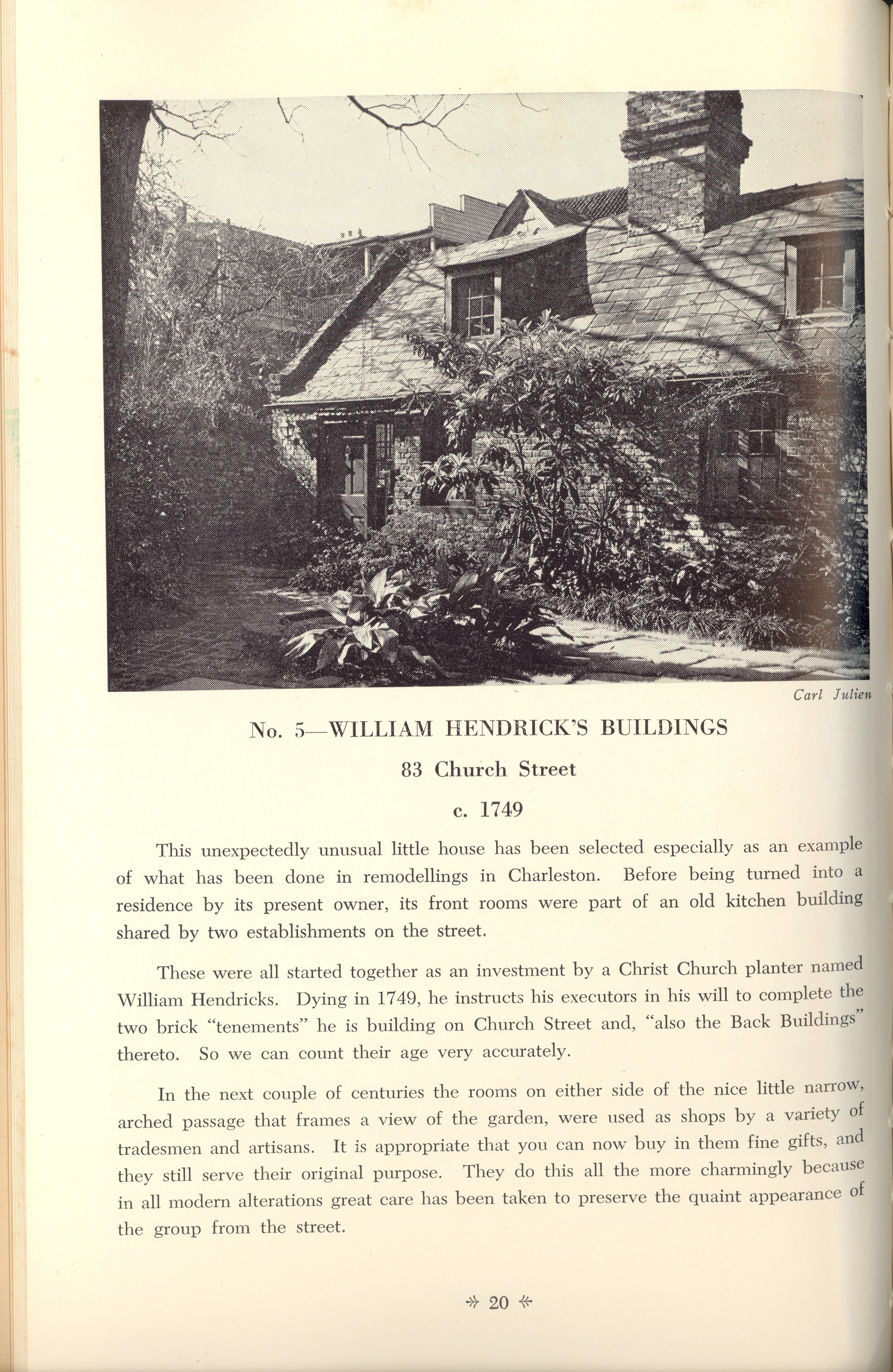 Page 20:  No. 5 - William Hendricks' Buildings, 83 Church Street, c. 1749