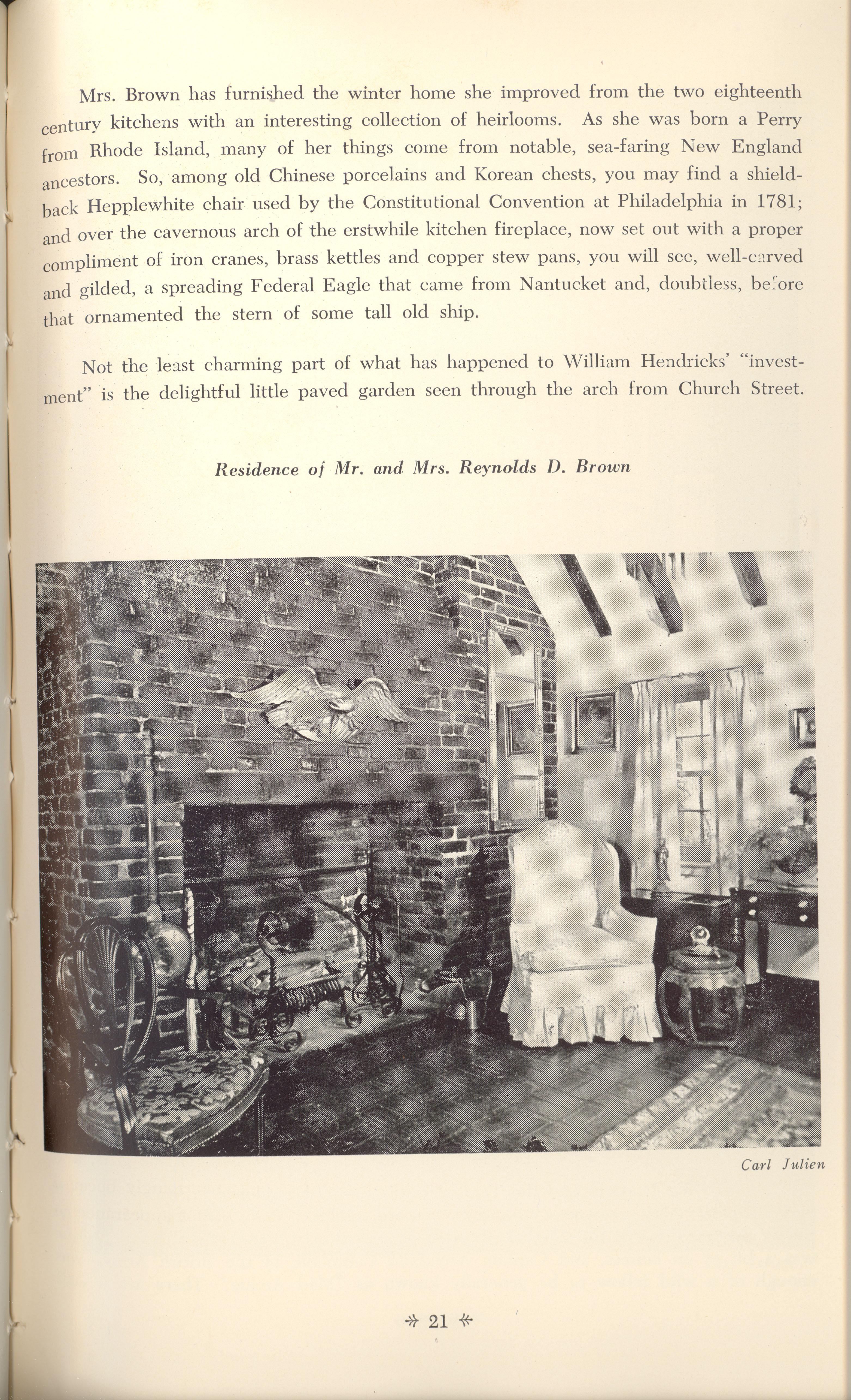 Page 21:  No. 5 - William Hendricks' Buildings, 83 Church Street, c. 1749, cont'd