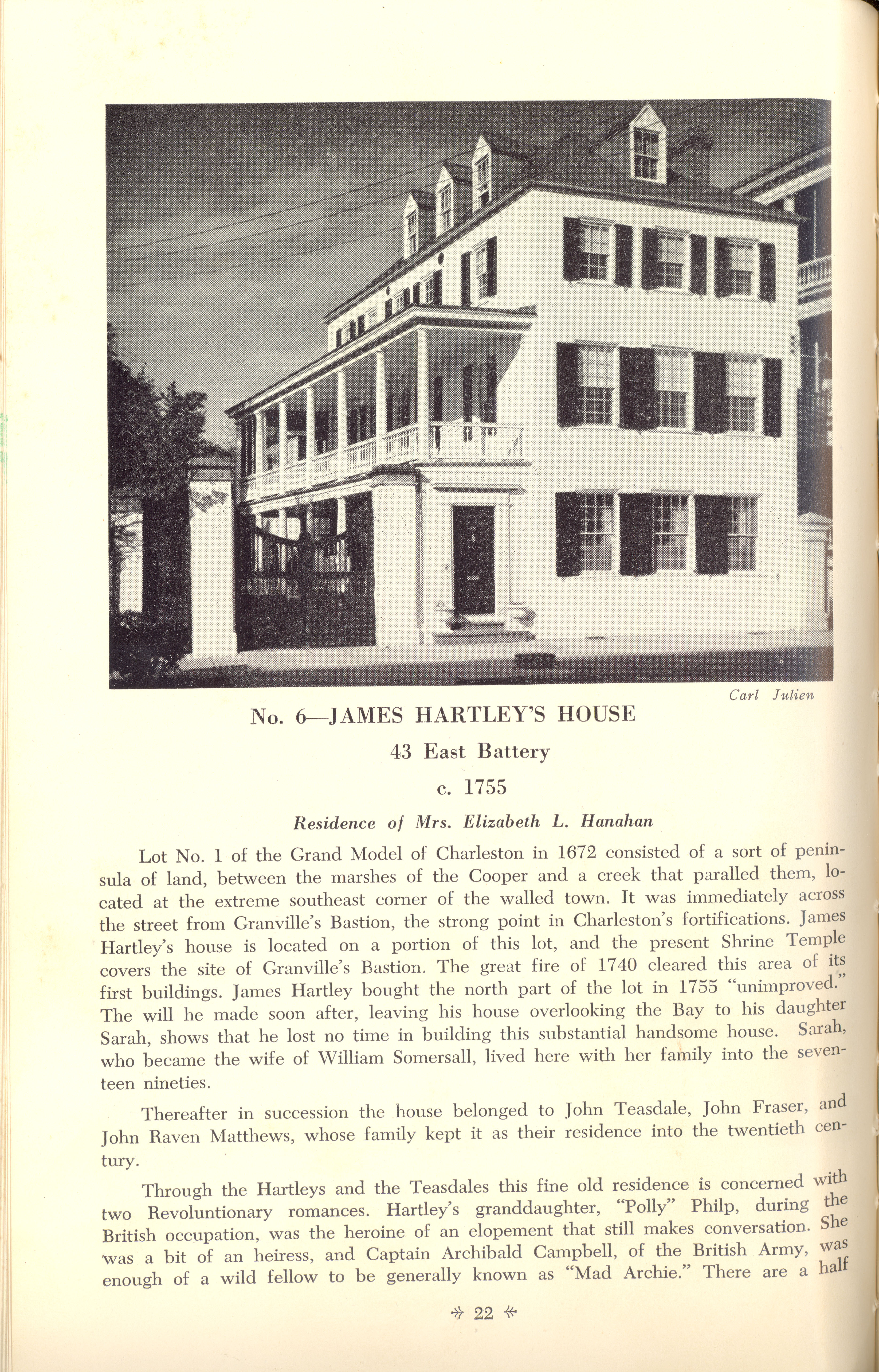 Page 22:  No. 6 - James Hartley's House, 43 East Battery, c. 1755
