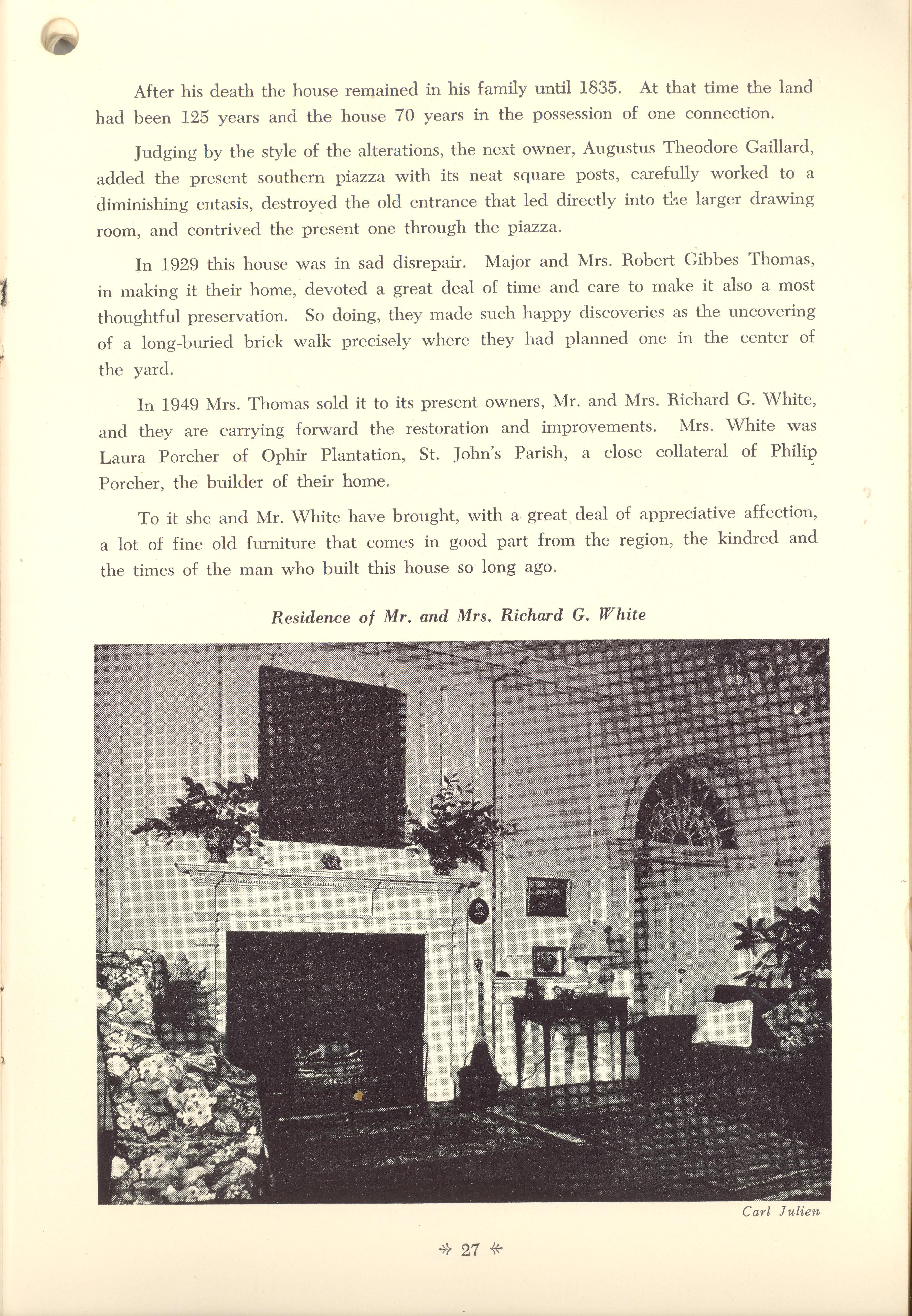 Page 27:  No. 8 - Philip Porcher's House, 19 Archdale Street, c. 1765, cont'd