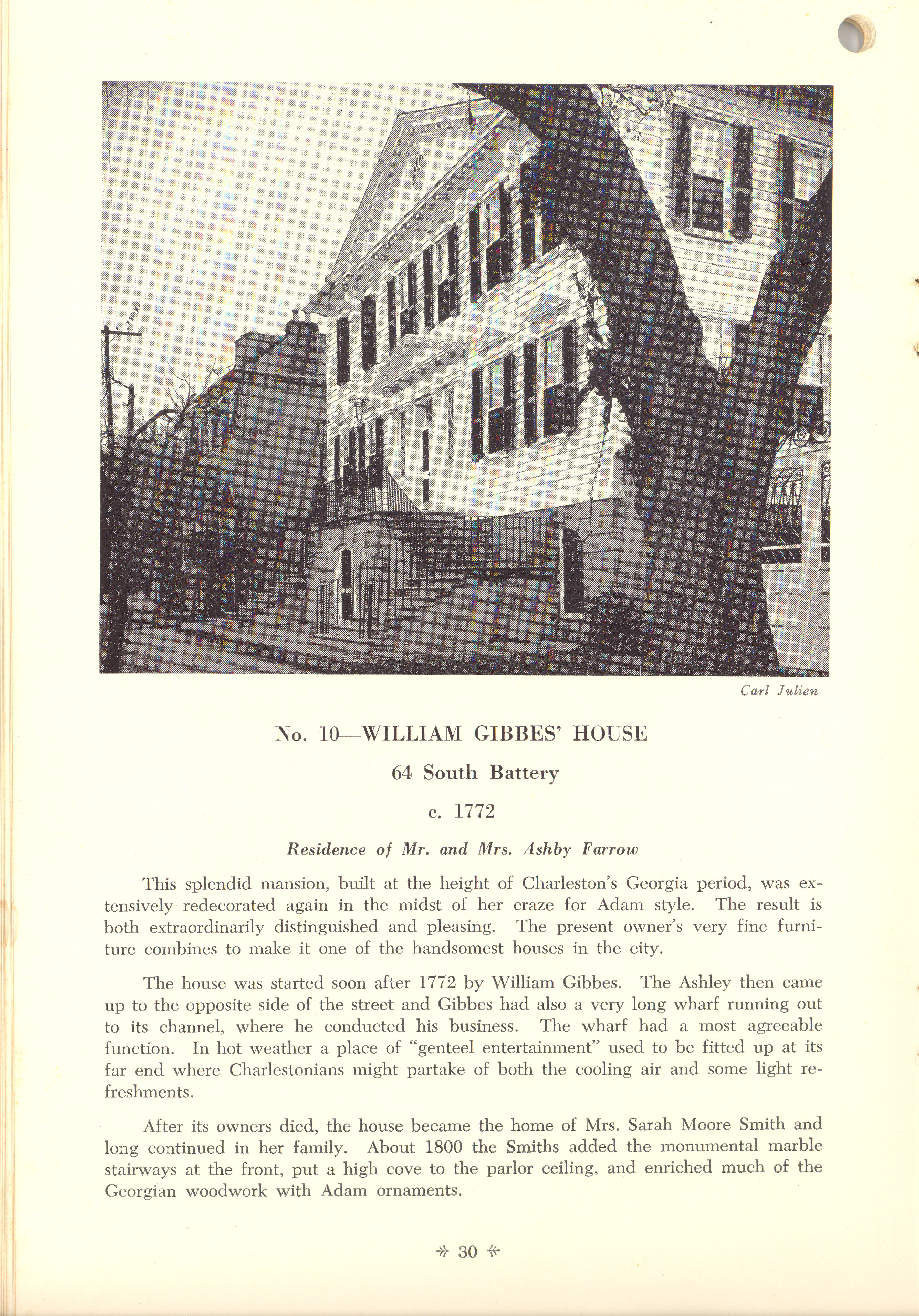 Page 30:  No. 10 - William Gibbes' House, 64 South Battery, c. 1772