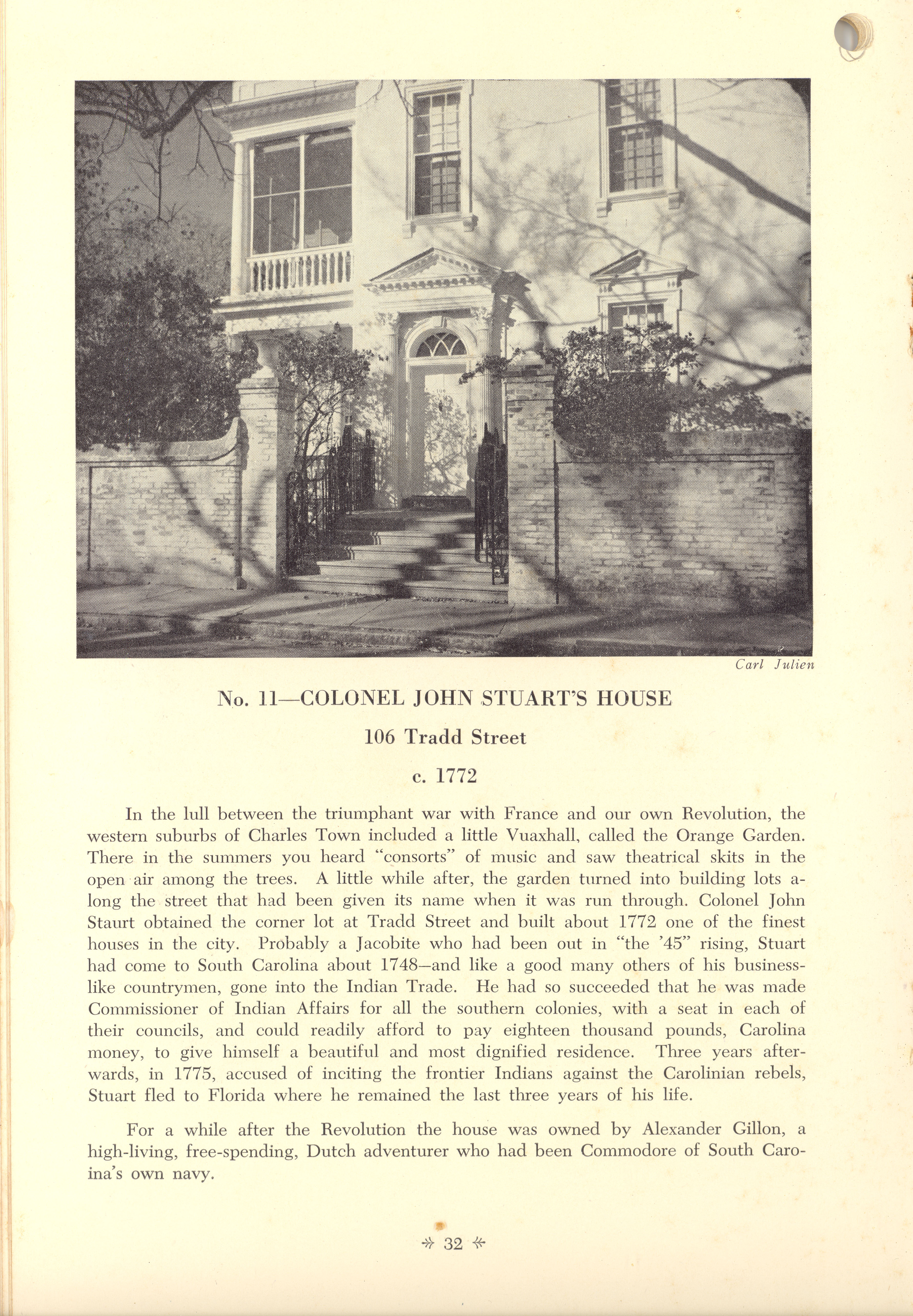Page 32:  No. 11 - Colonel John Stuart's House, 106 Tradd Street, c. 1772