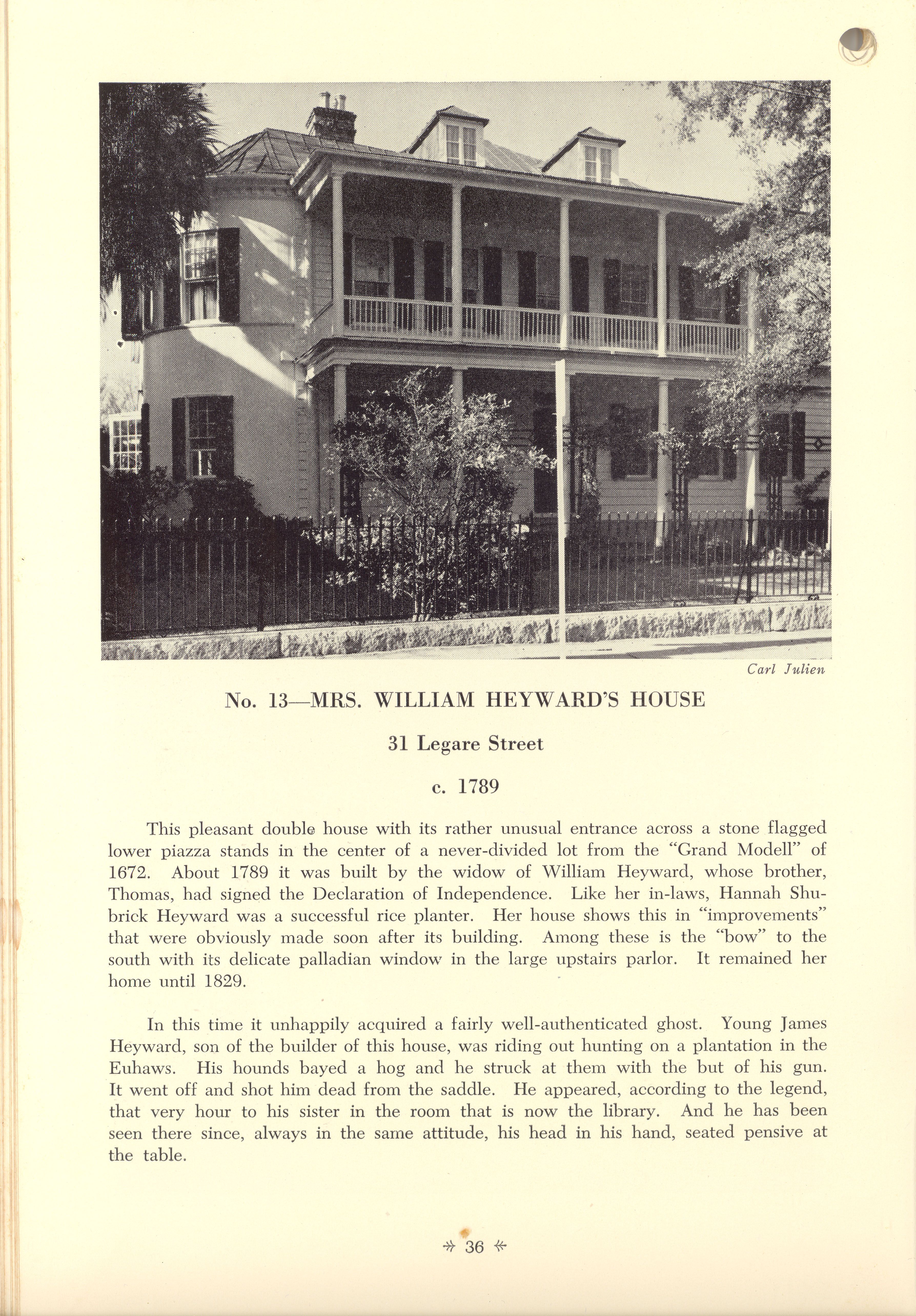 Page 36:  No. 13 - Mrs. William Heyward's House, 31 Legare Street, c. 1789