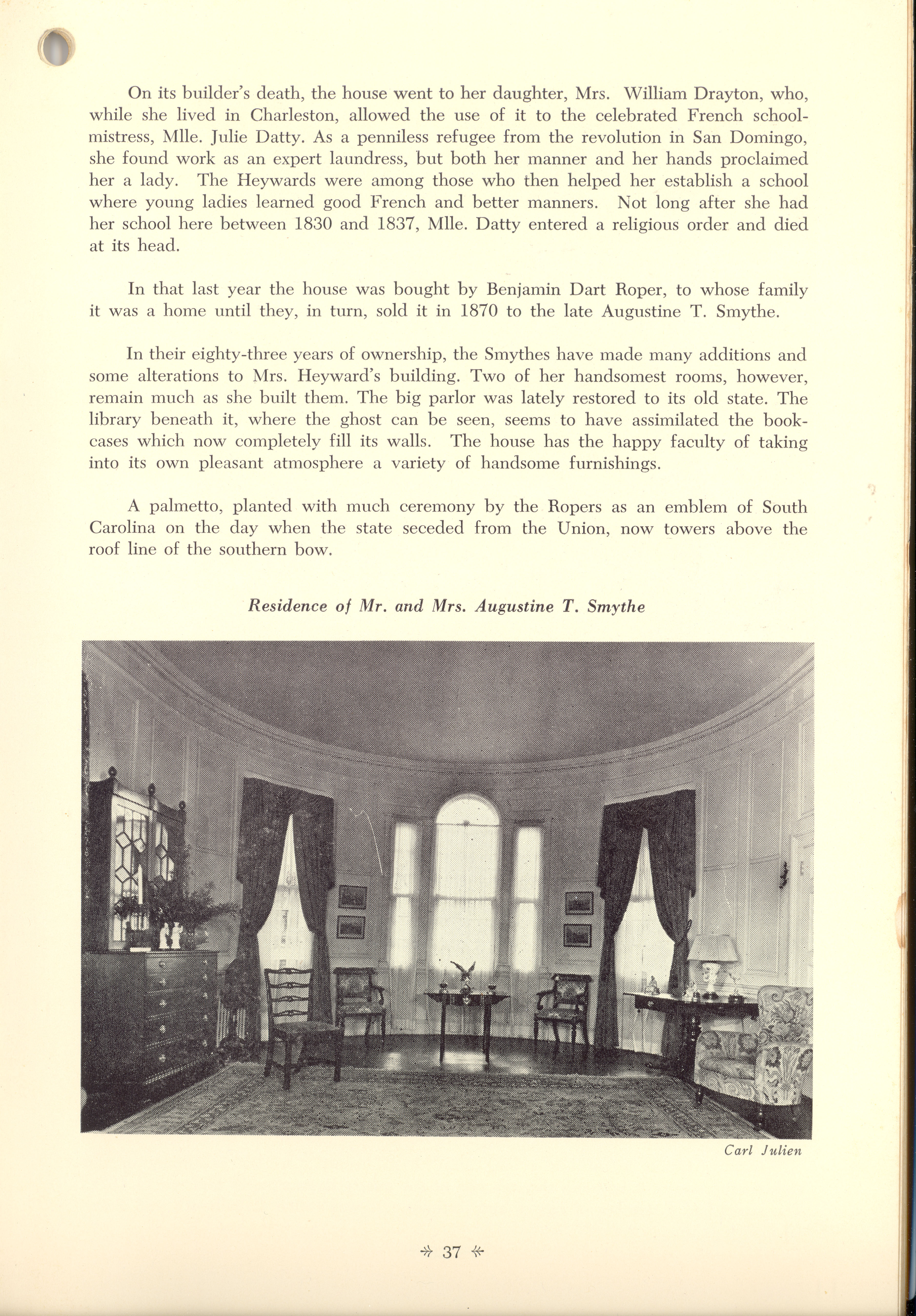 Page 37:  No. 13 - Mrs. William Heyward's House, 31 Legare Street, c. 1789, cont'd