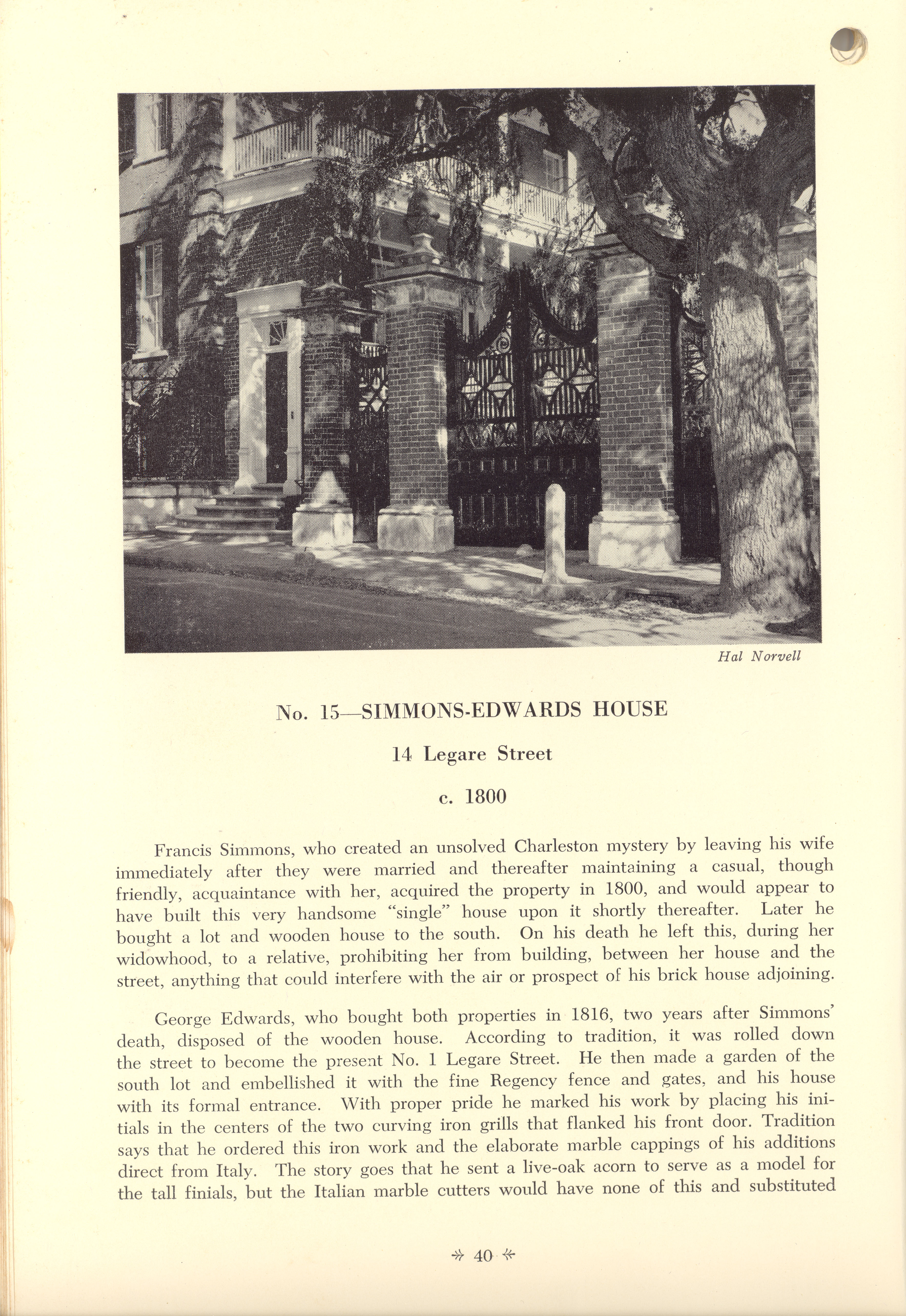 Page 40:  No. 15 - The Simmons-Edwards House, 14 Legare Street, c. 1800