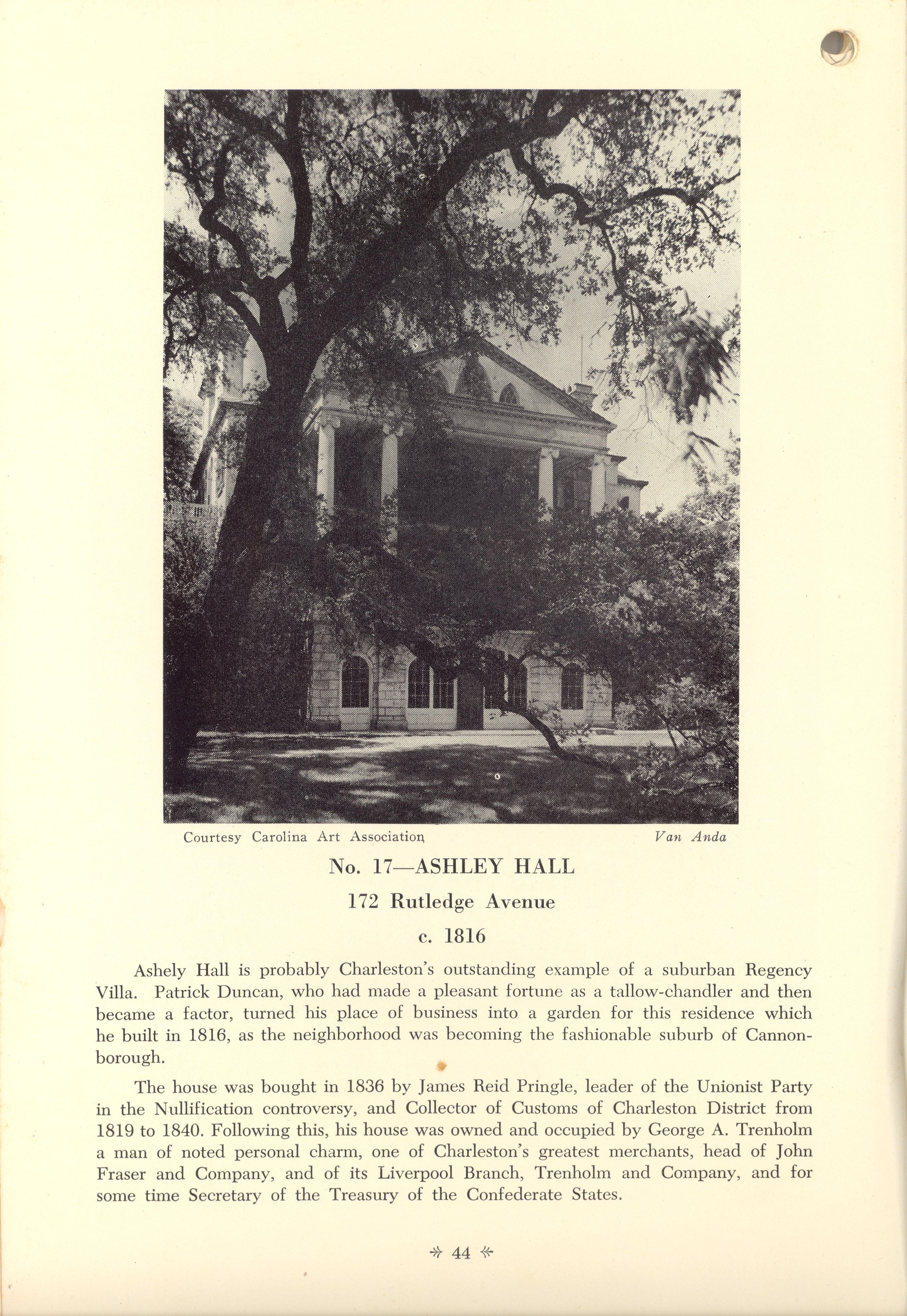 Page 44:  No. 17 - Ashley Hall, 172 Rutledge Avenue, c. 1816