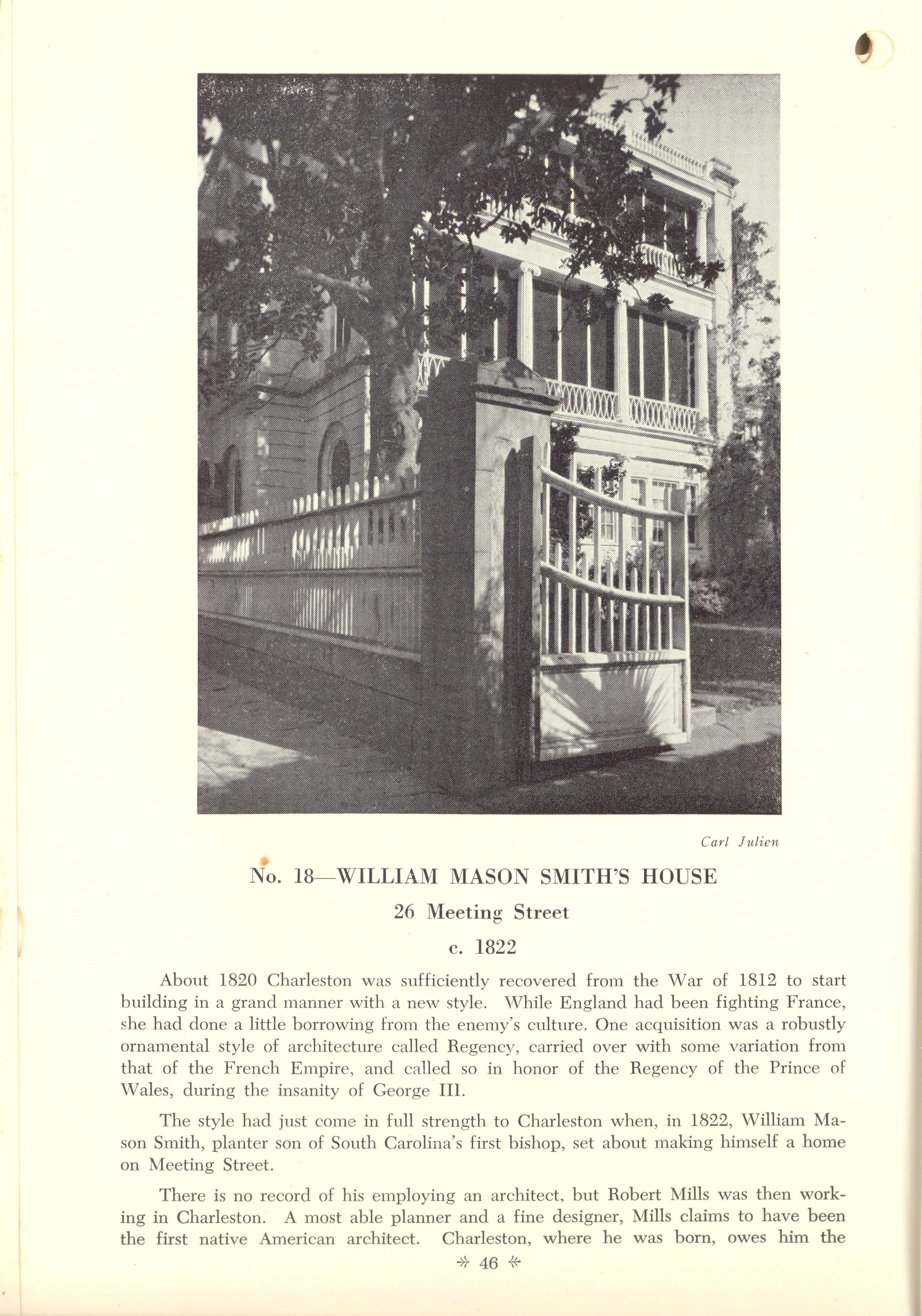 Page 46:  No. 18 - William Mason Smith's House, 26 Meeting Street, c. 1822