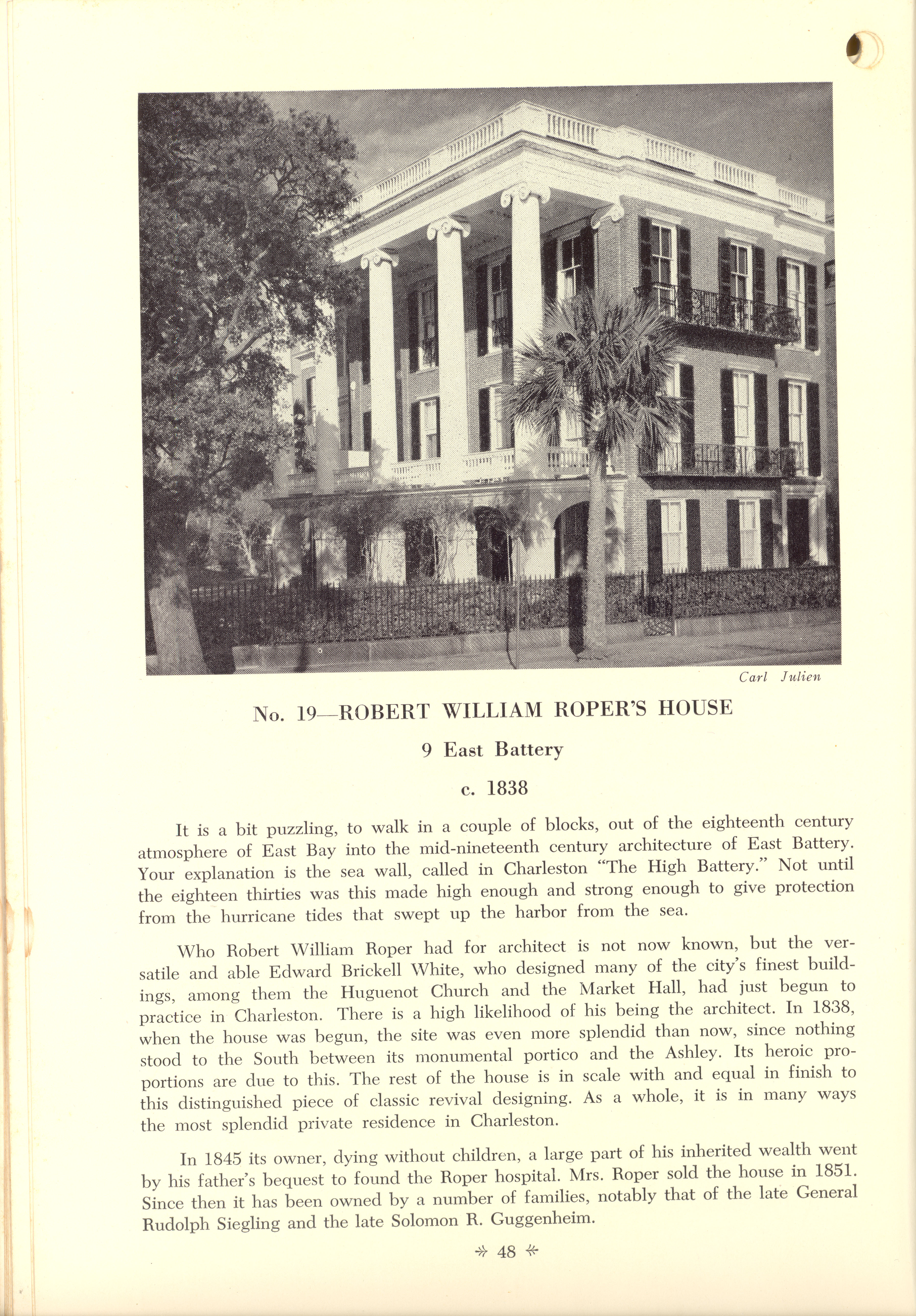 Page 48:  No. 19 - Robert William Roper's House, 9 East Battery, c. 1838