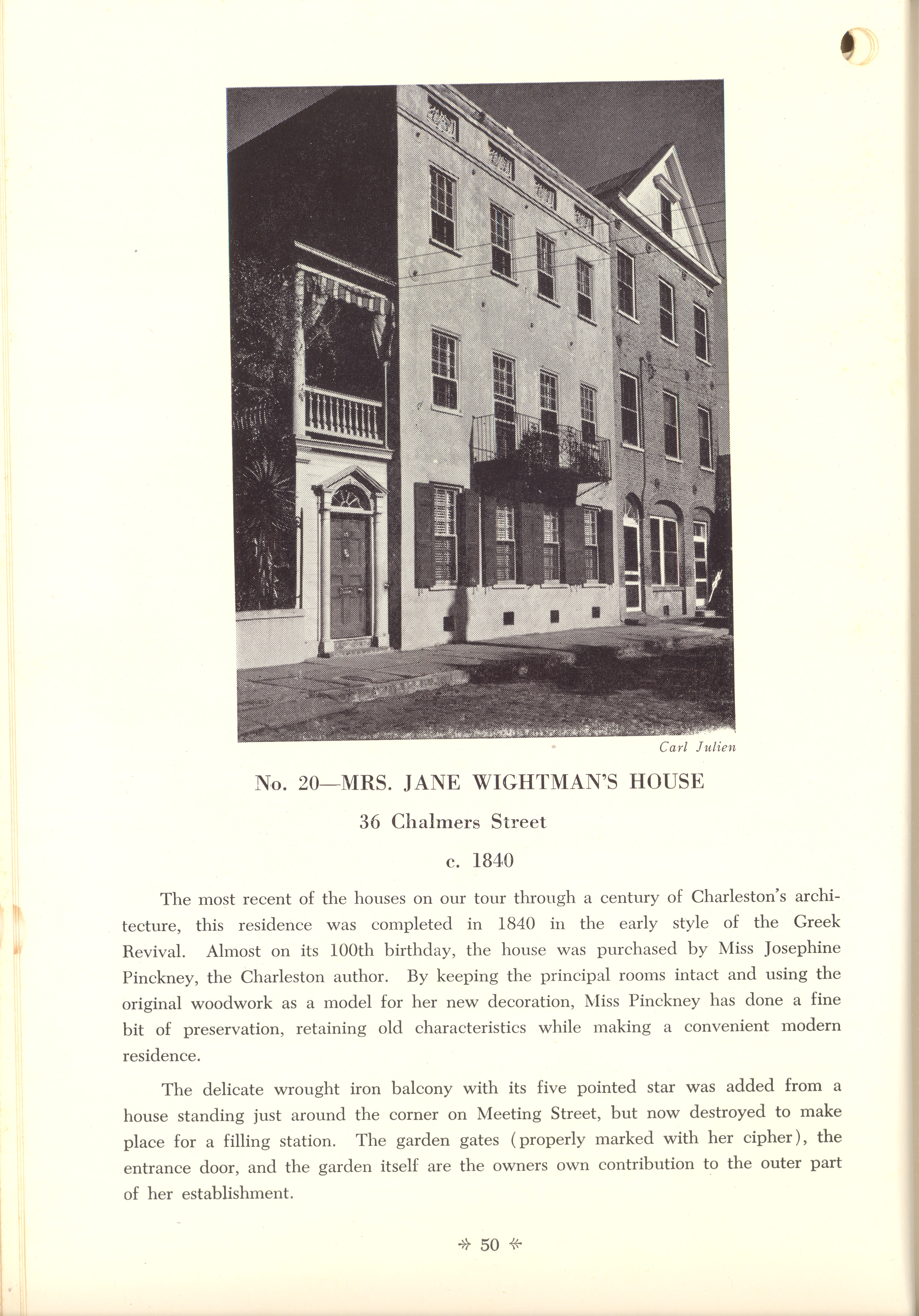 Page 50:  No. 20 - Mrs. Jane Wightman's House, 36 Chalmers Street, c. 1840